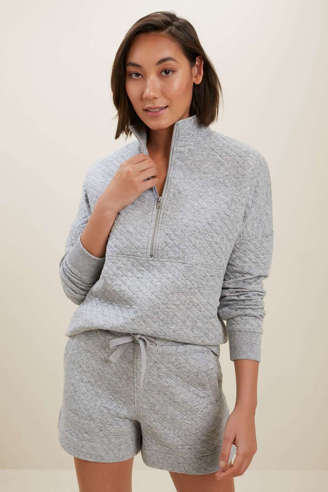 Diamond Quilted Sweater  STORMY GREY MARLE  hi-res