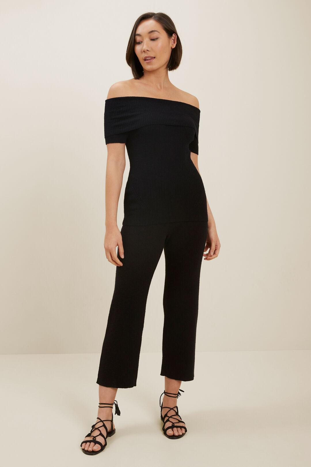 Boucle Off Shoulder Knit Top  BLACK  hi-res