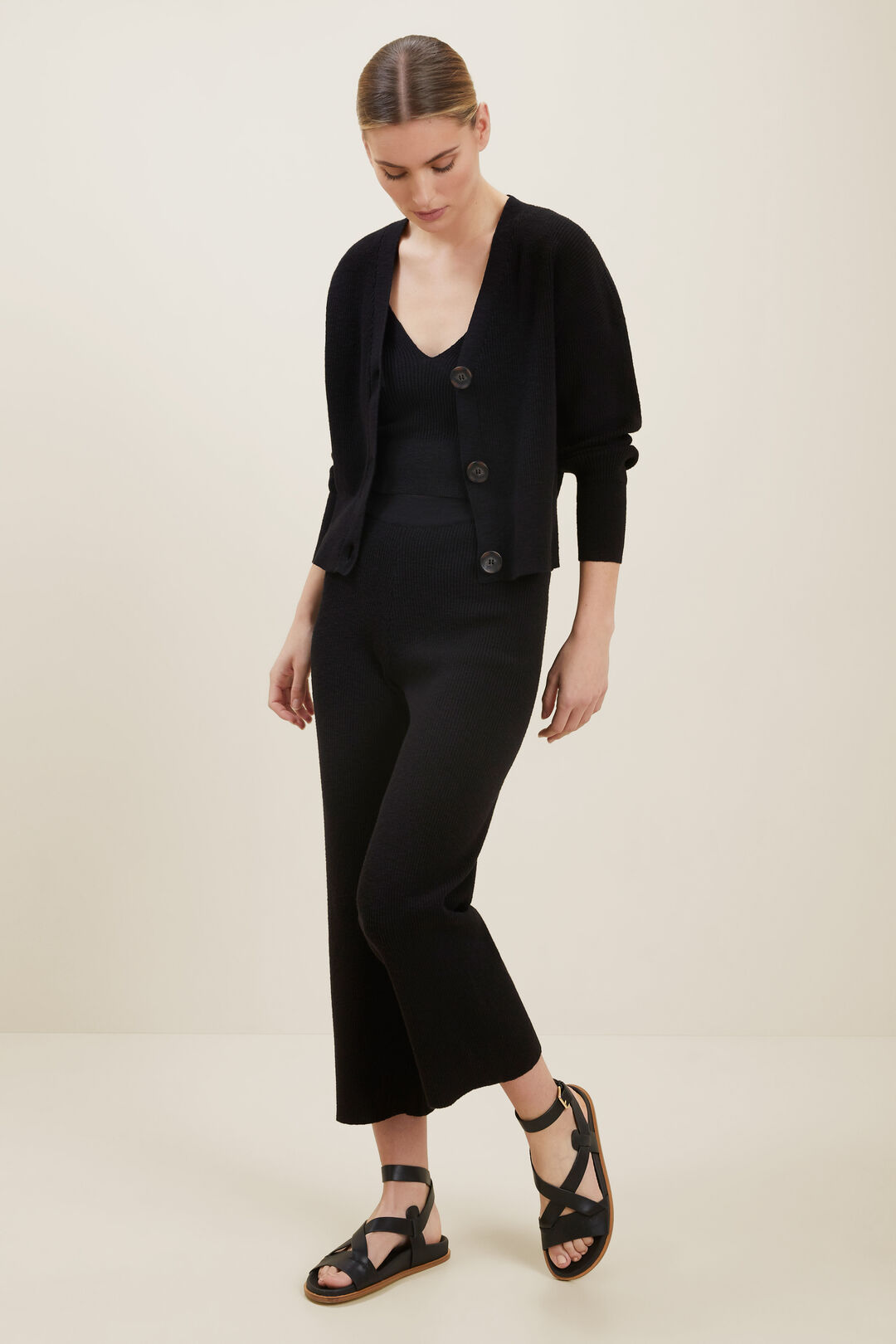 Boucle Knit Cardigan  BLACK  hi-res