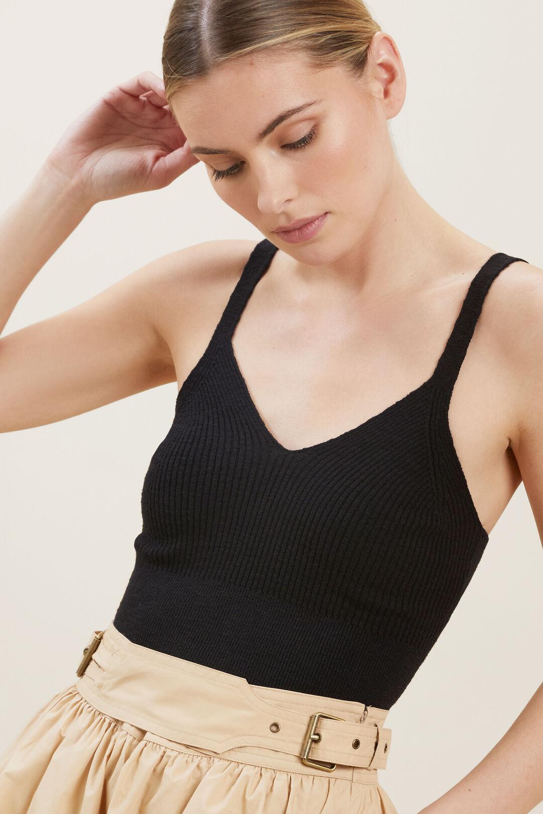 Boucle Knit Crop Top  BLACK  hi-res