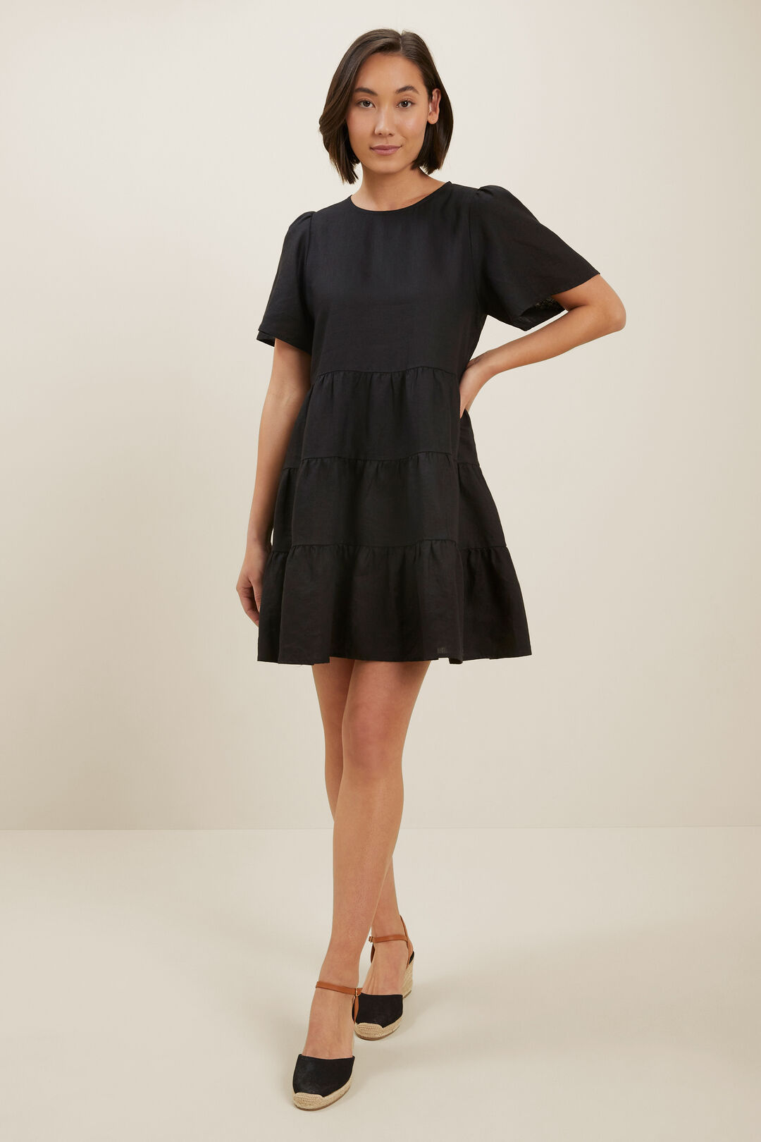 Linen Tiered Dress  BLACK  hi-res