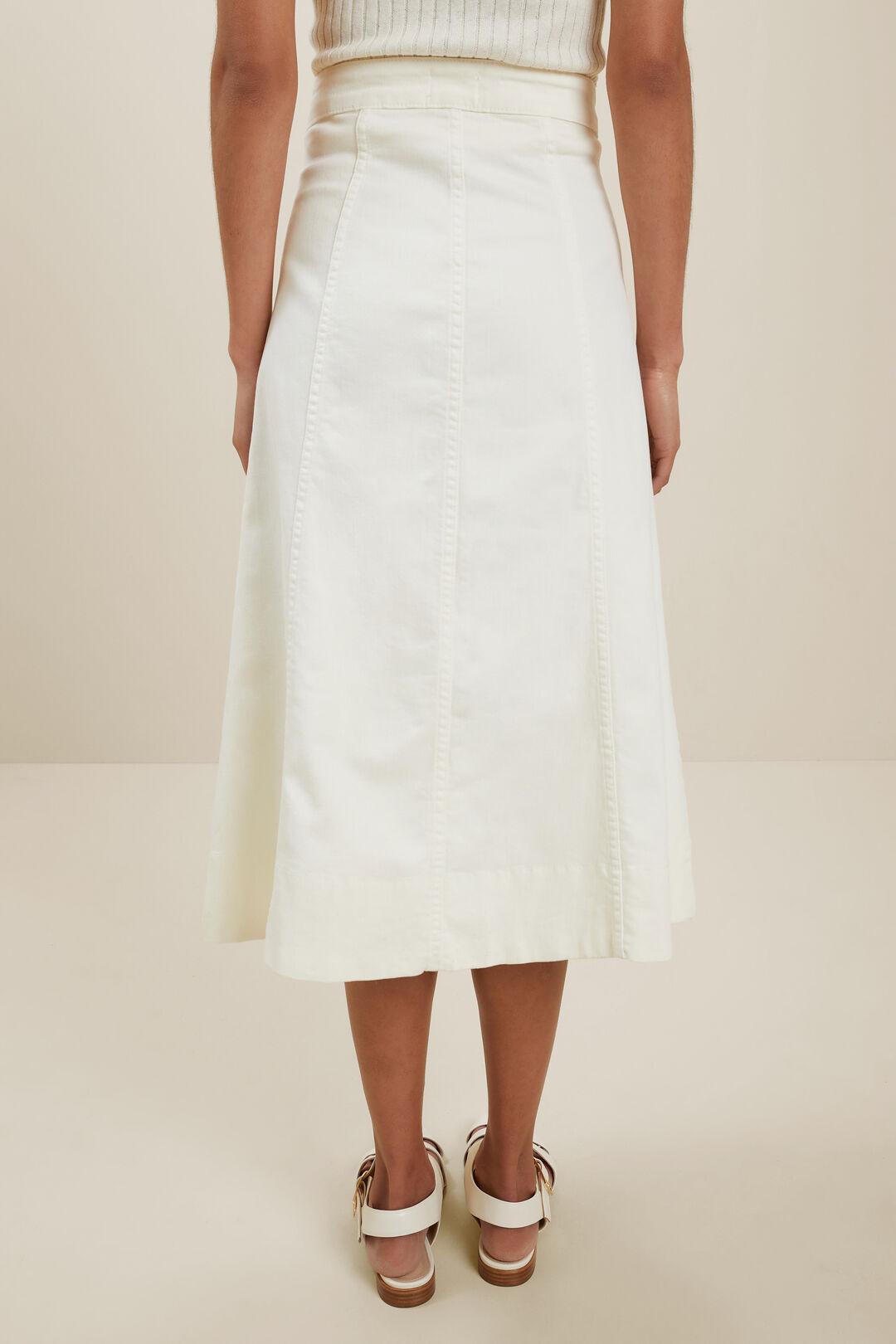 Denim Button Midi Skirt  FRENCH VANILLA  hi-res
