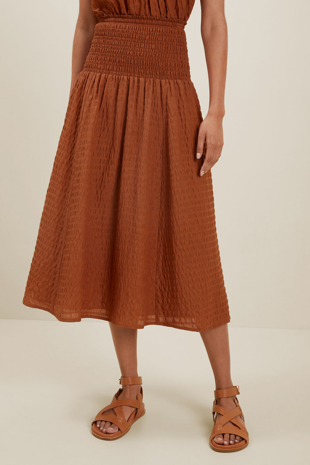 Textured Shirred Skirt  EARTH RED  hi-res