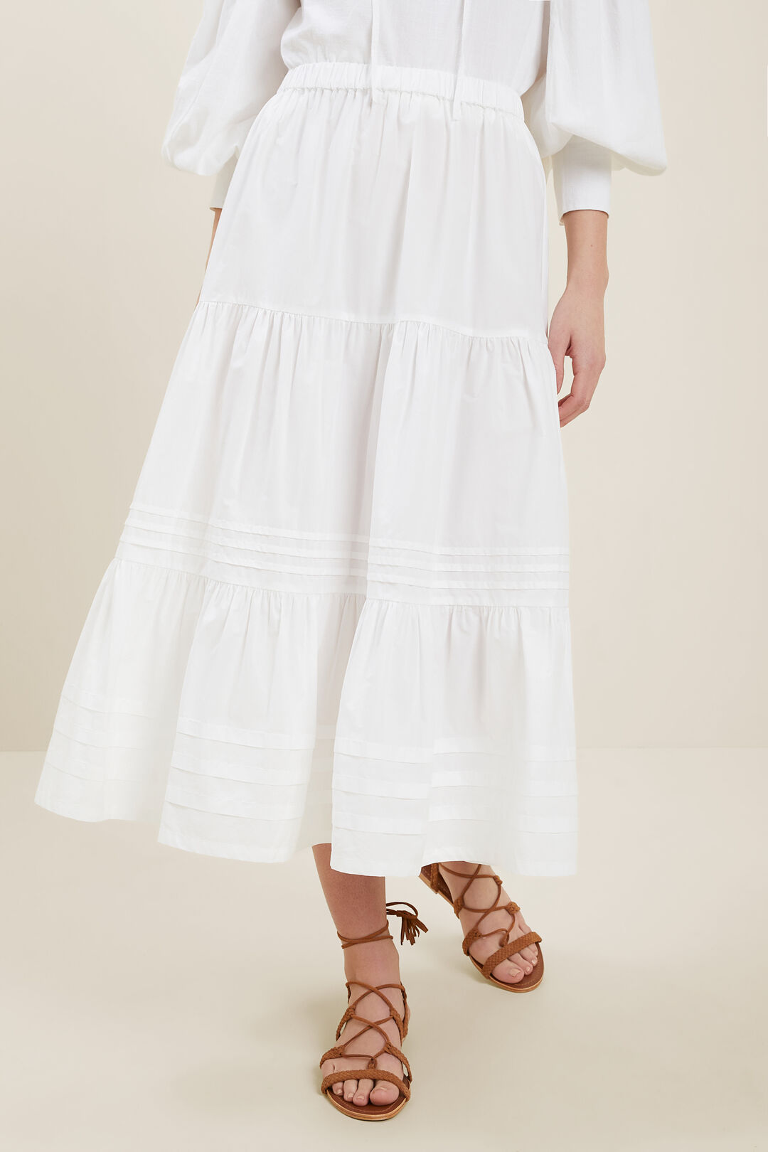 Poplin Tiered Skirt  WHISPER WHITE  hi-res