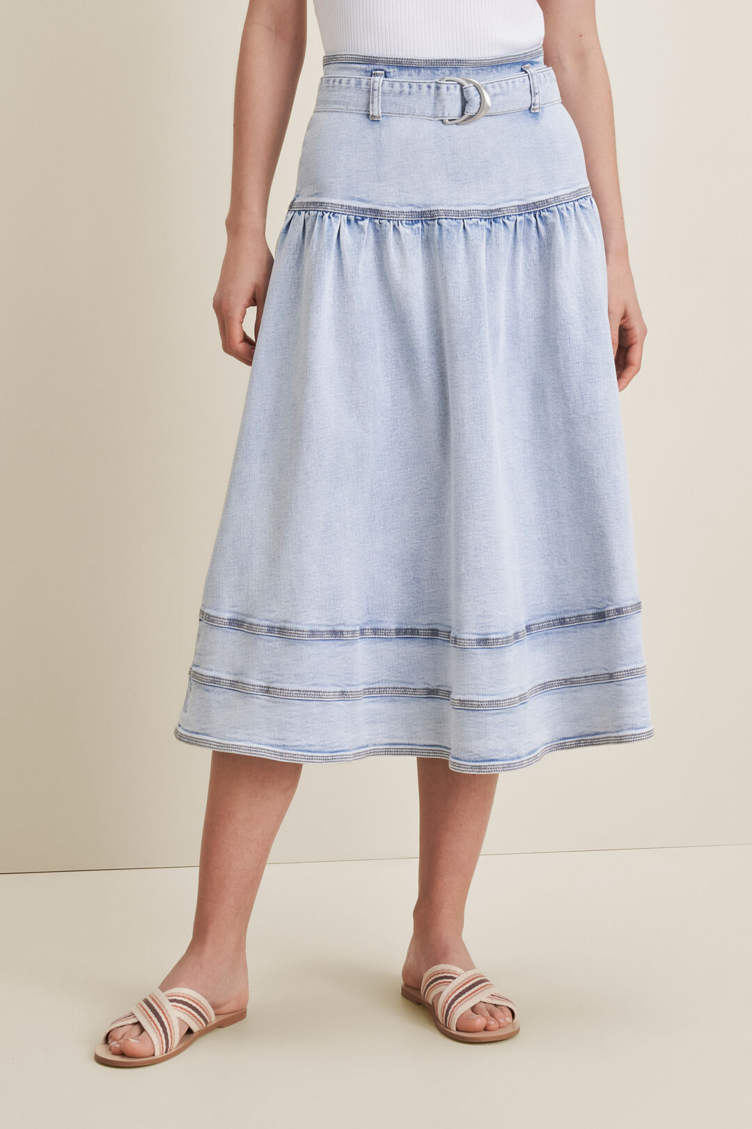 Denim Belted Midi Skirt  SKY BLUE RINSE  hi-res