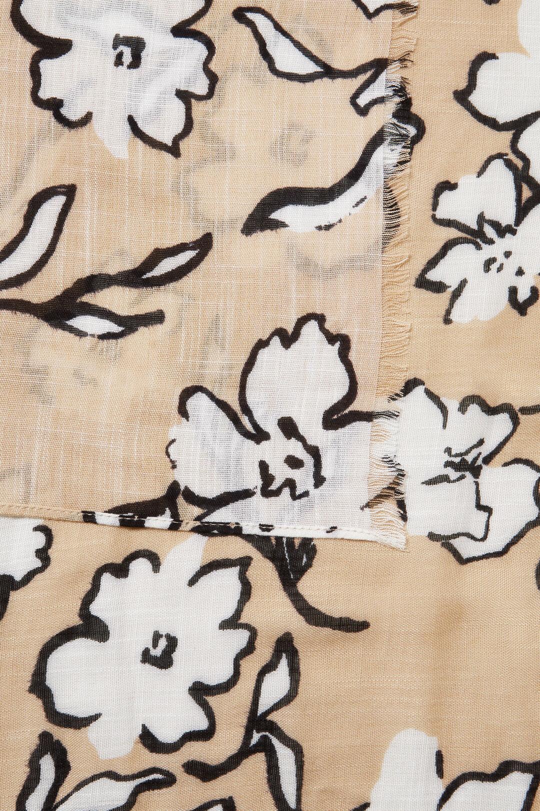 Floral Print Scarf  NEUTRAL SAND MULTI  hi-res