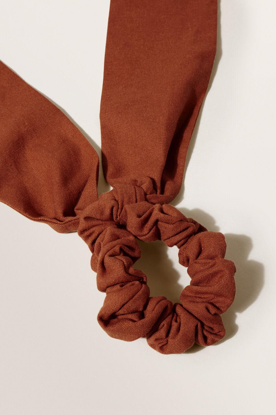 Linen Scarf Scrunchie  EARTH RED  hi-res