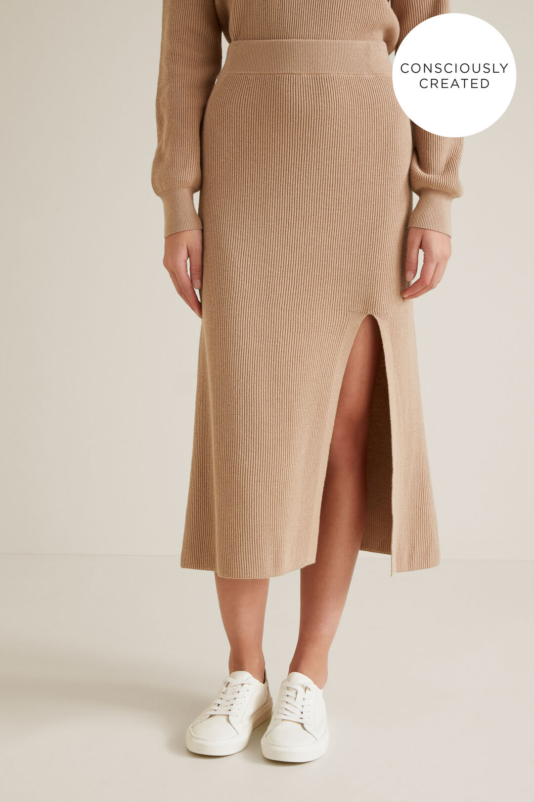 Sustainable Knit Skirt  TEDDY BROWN  hi-res