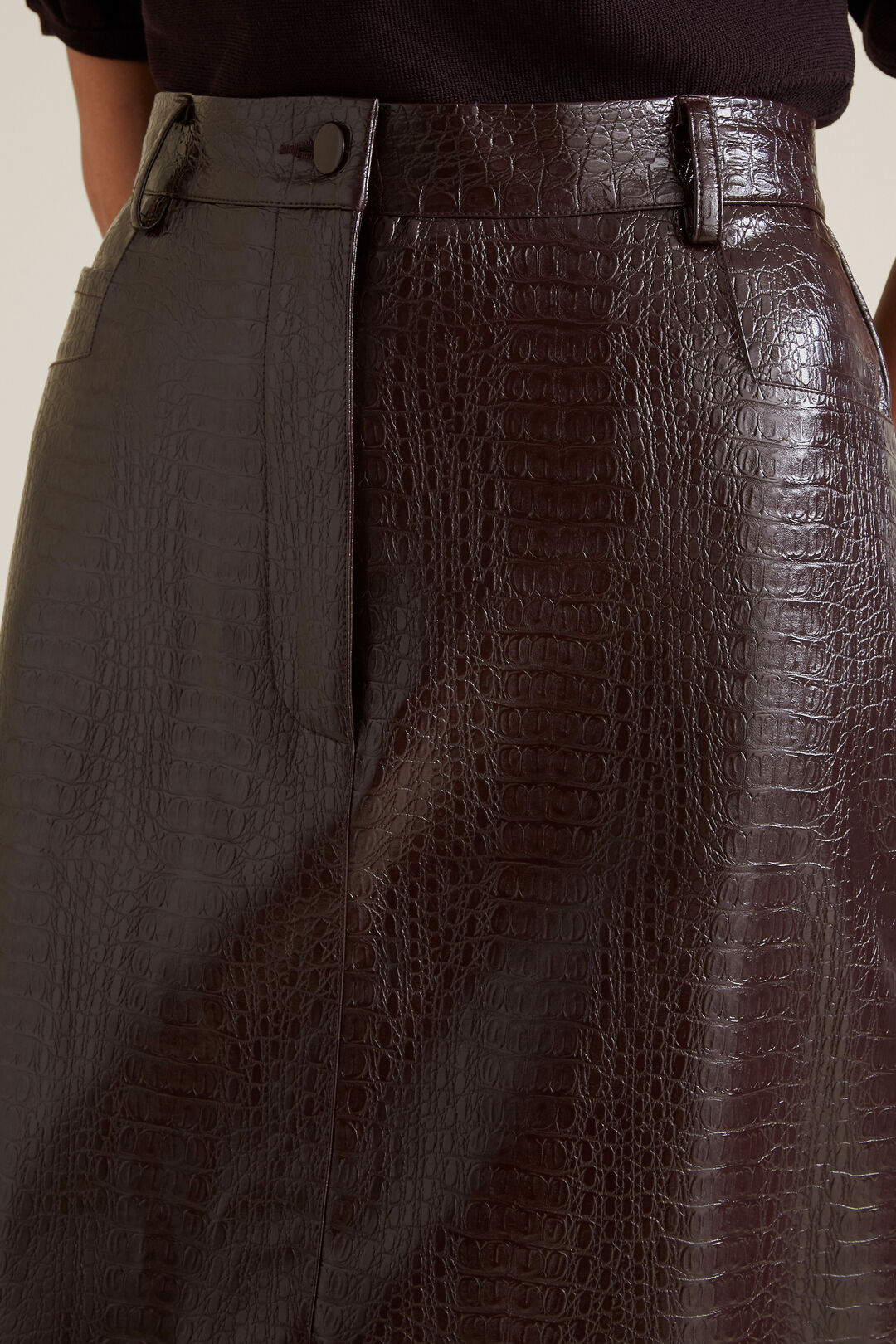 Croc Skirt  DARK PLUM  hi-res