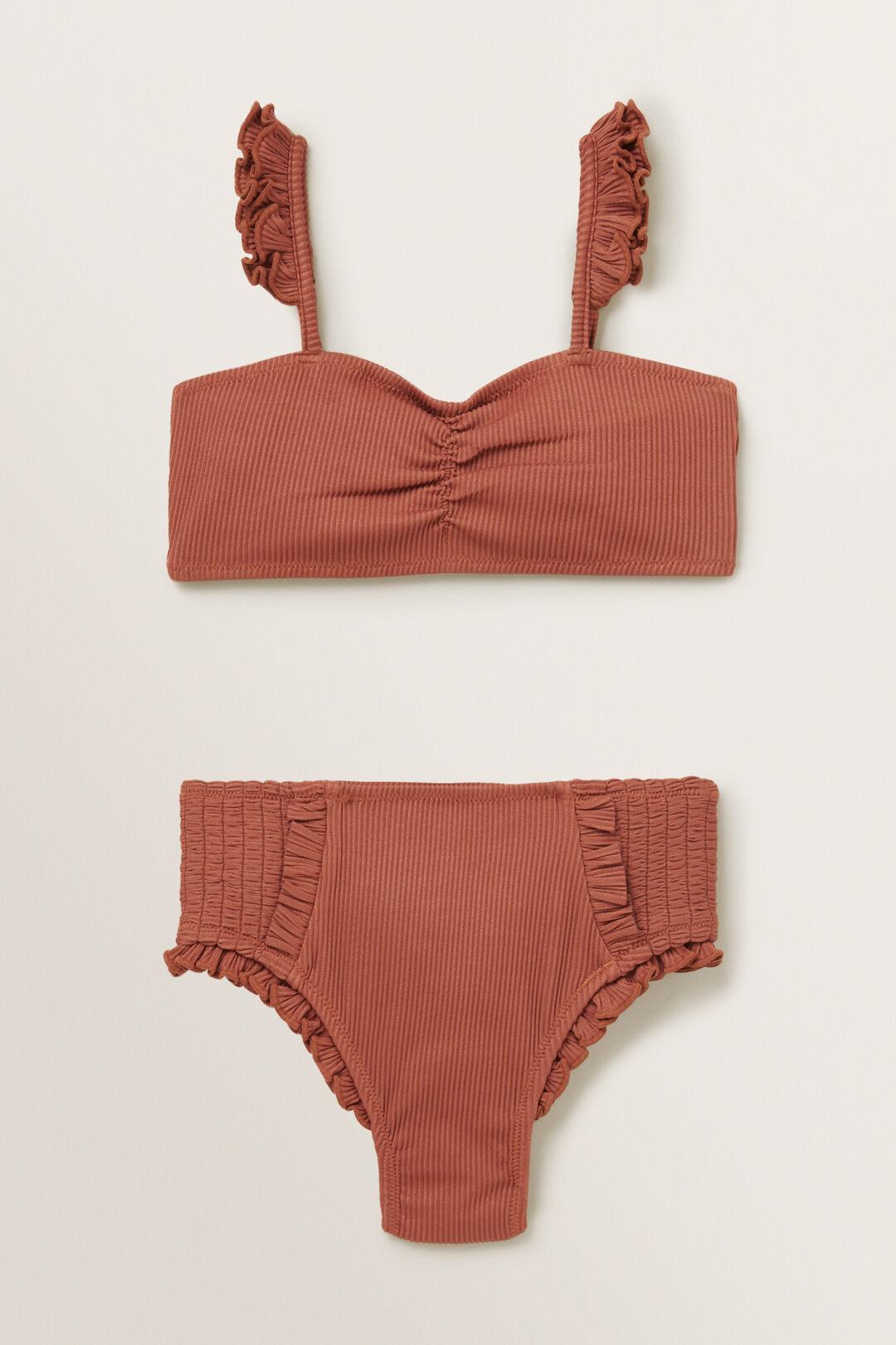 Rib Frill Bikini  RUST  hi-res