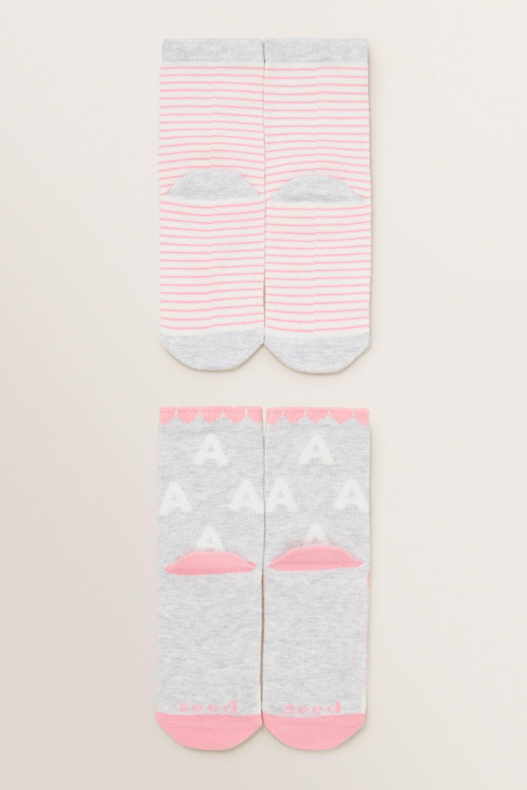 Unicorn Initial Sock 2 Pack  A  hi-res