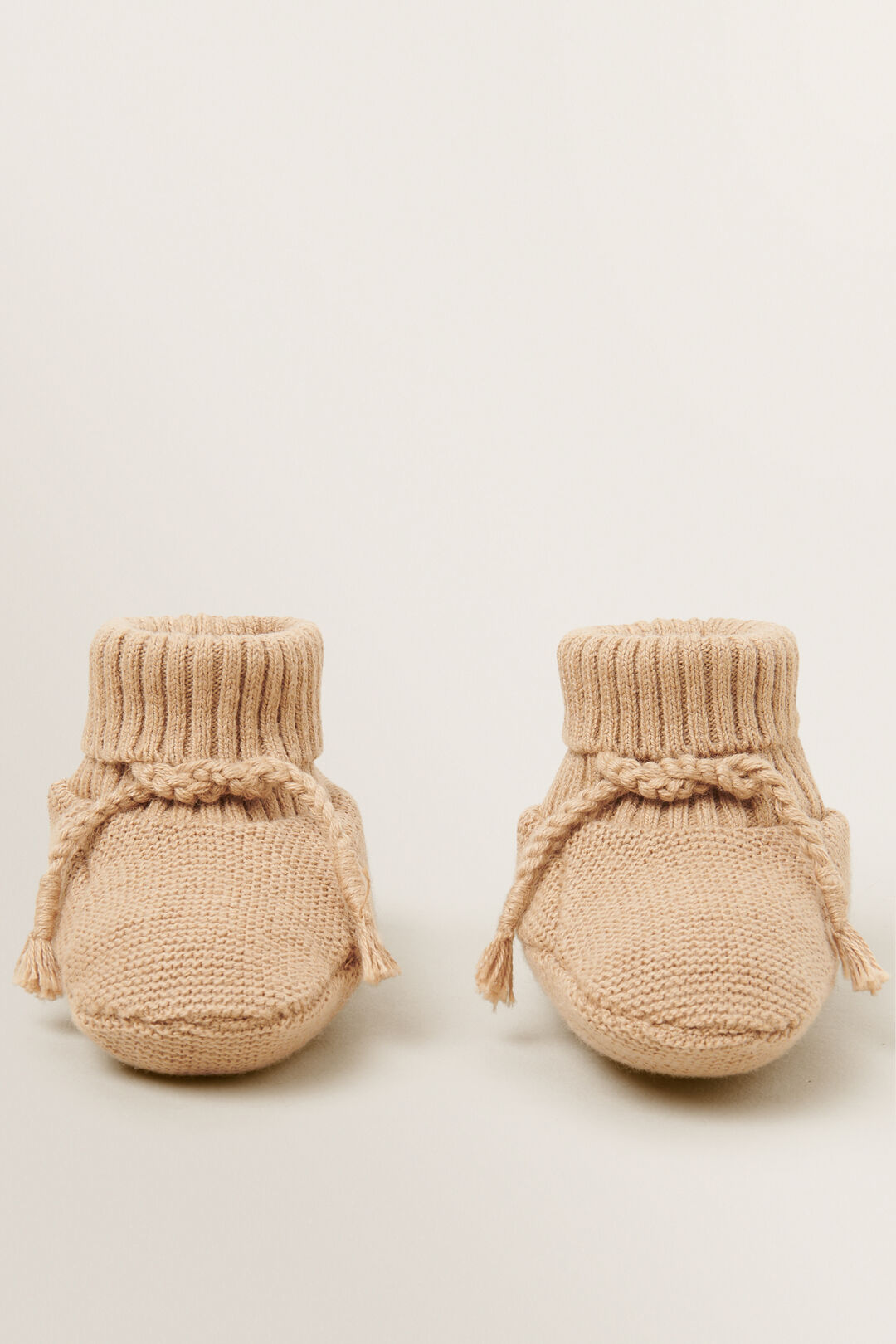 Essential Knitted Booties  WHEAT  hi-res