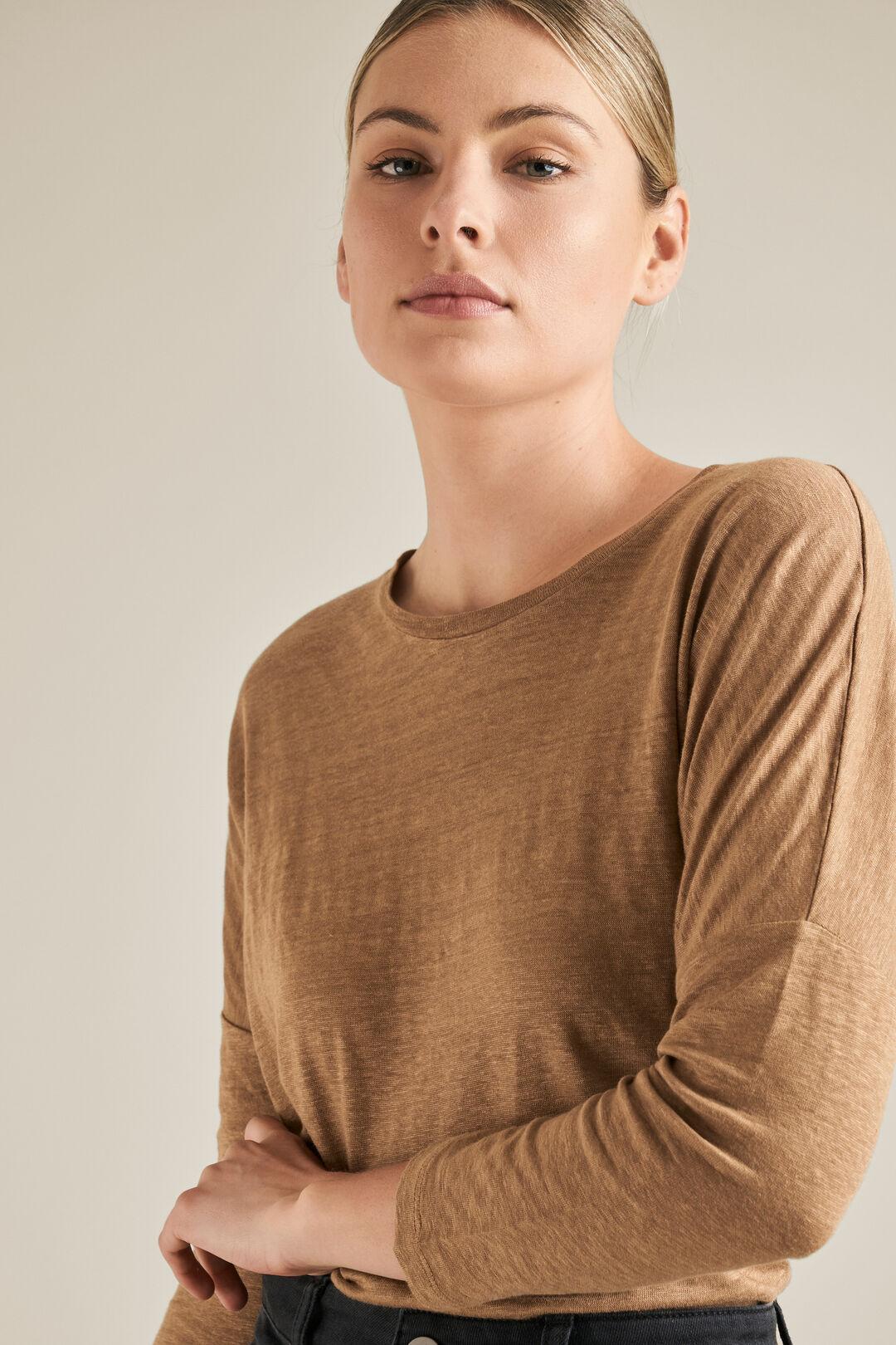 Linen 3/4 Sleeve Top  CARAMEL  hi-res