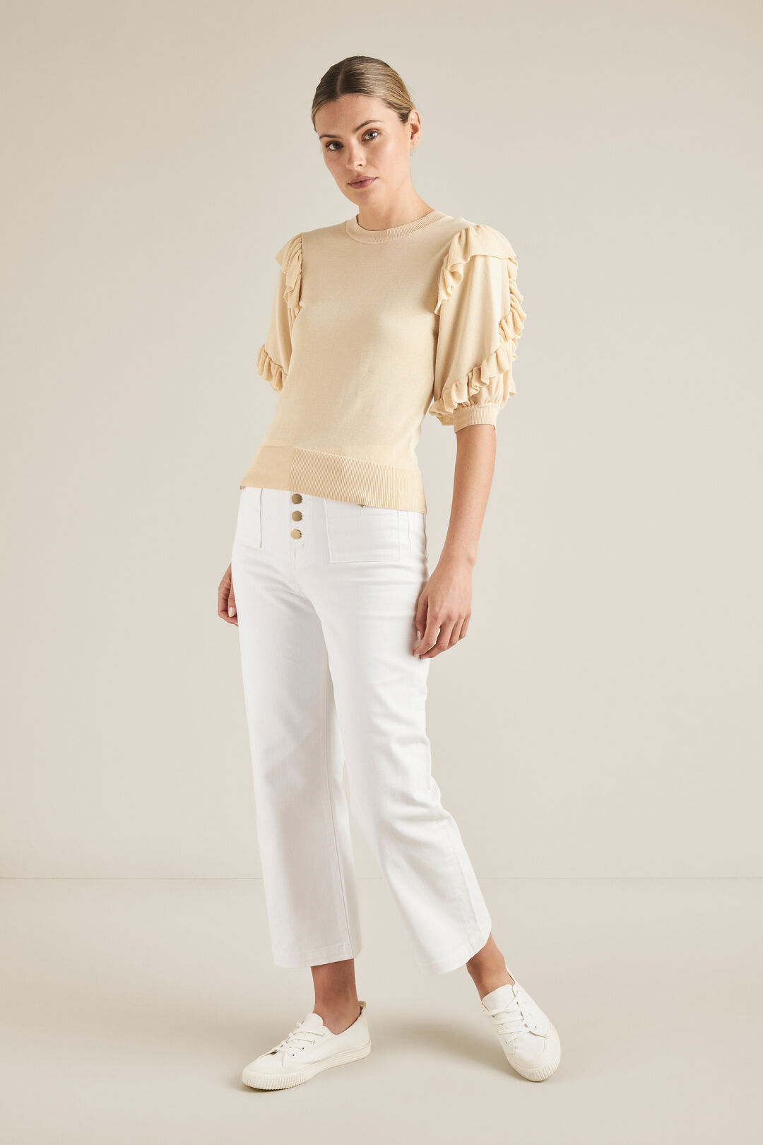 Frill Sleeve Knit  BUTTERY CREAM  hi-res