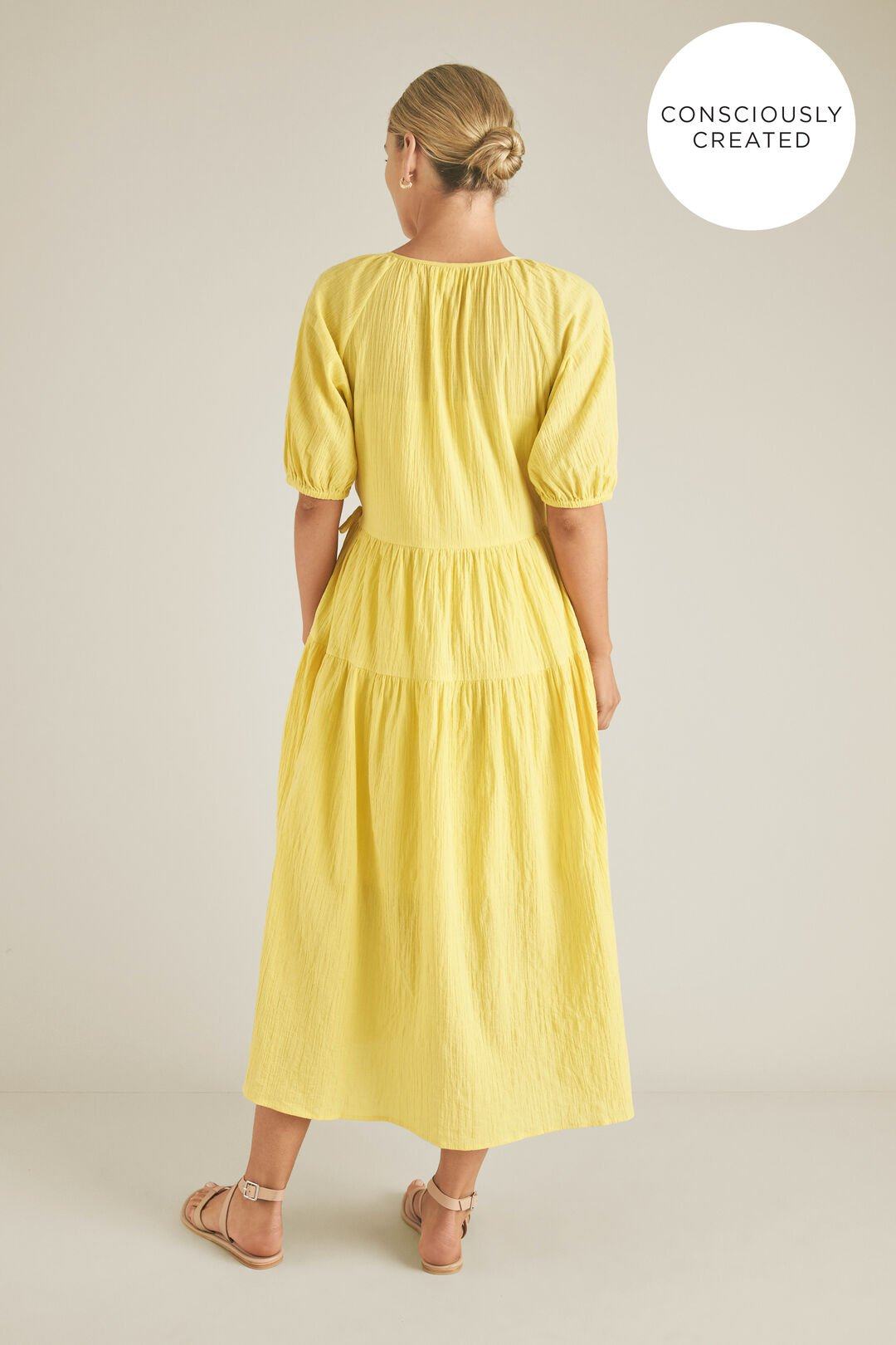 Sustainable Wrap Tiered Dress  CREAM GOLD  hi-res