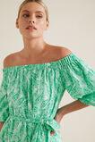Paisley Off Shoulder Dress  GREEN PAISLEY  hi-res