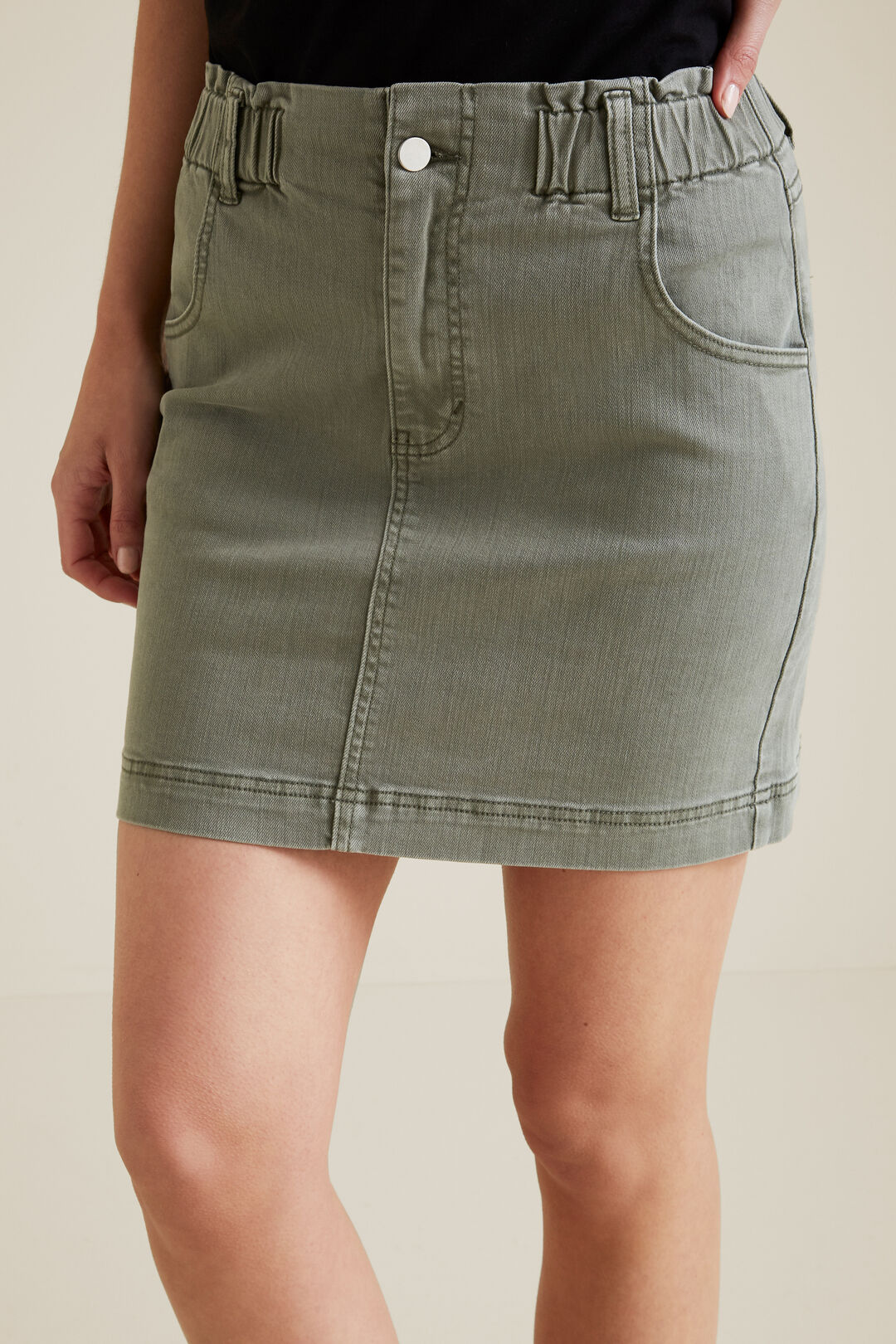 Paperbag Denim Mini Skirt  DUSTY KHAKI  hi-res
