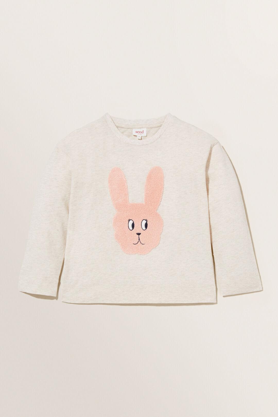 Bunny Face Long Sleeve Tee  OAT MARLE  hi-res