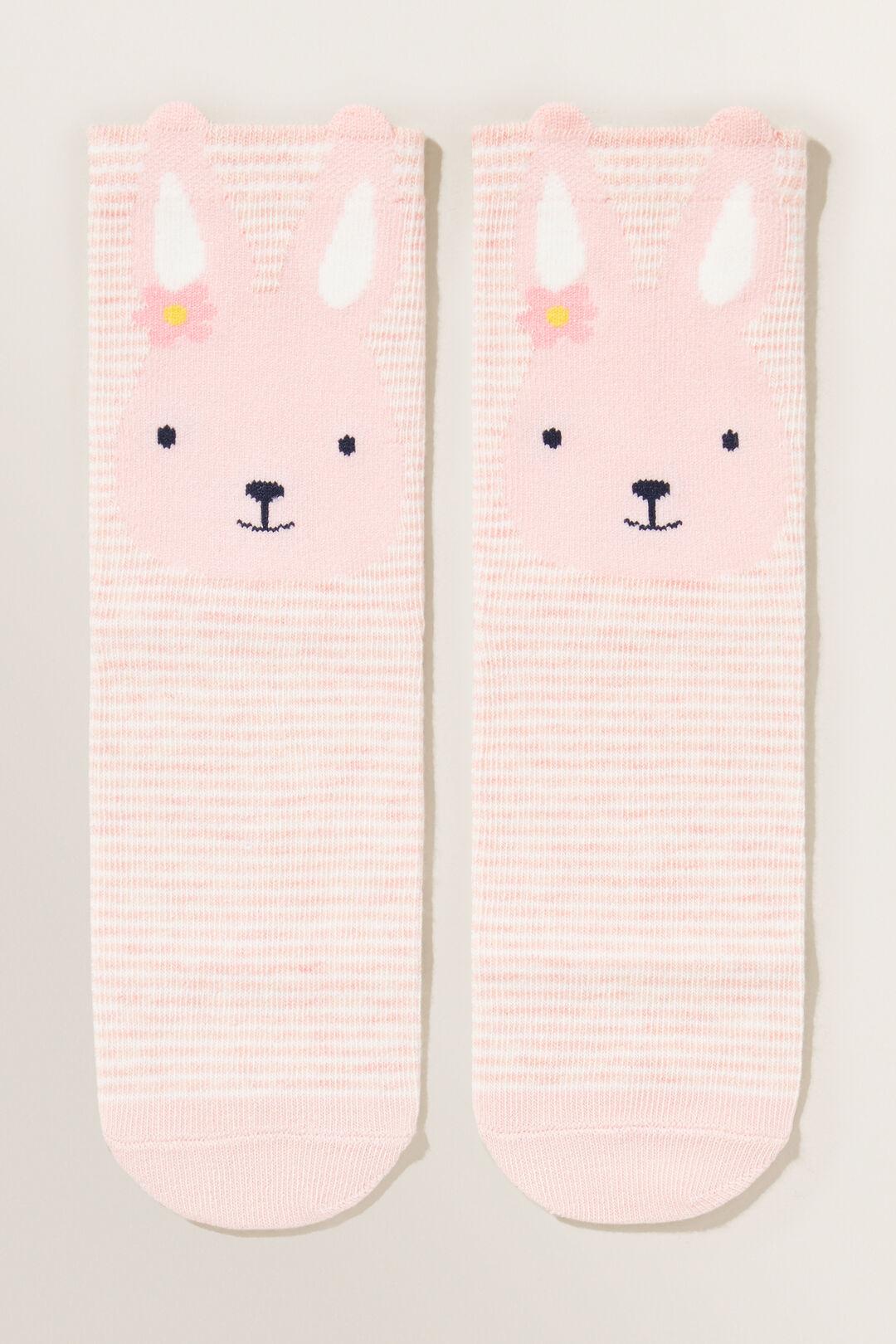 Bunny Face Socks  DUSTY ROSE  hi-res
