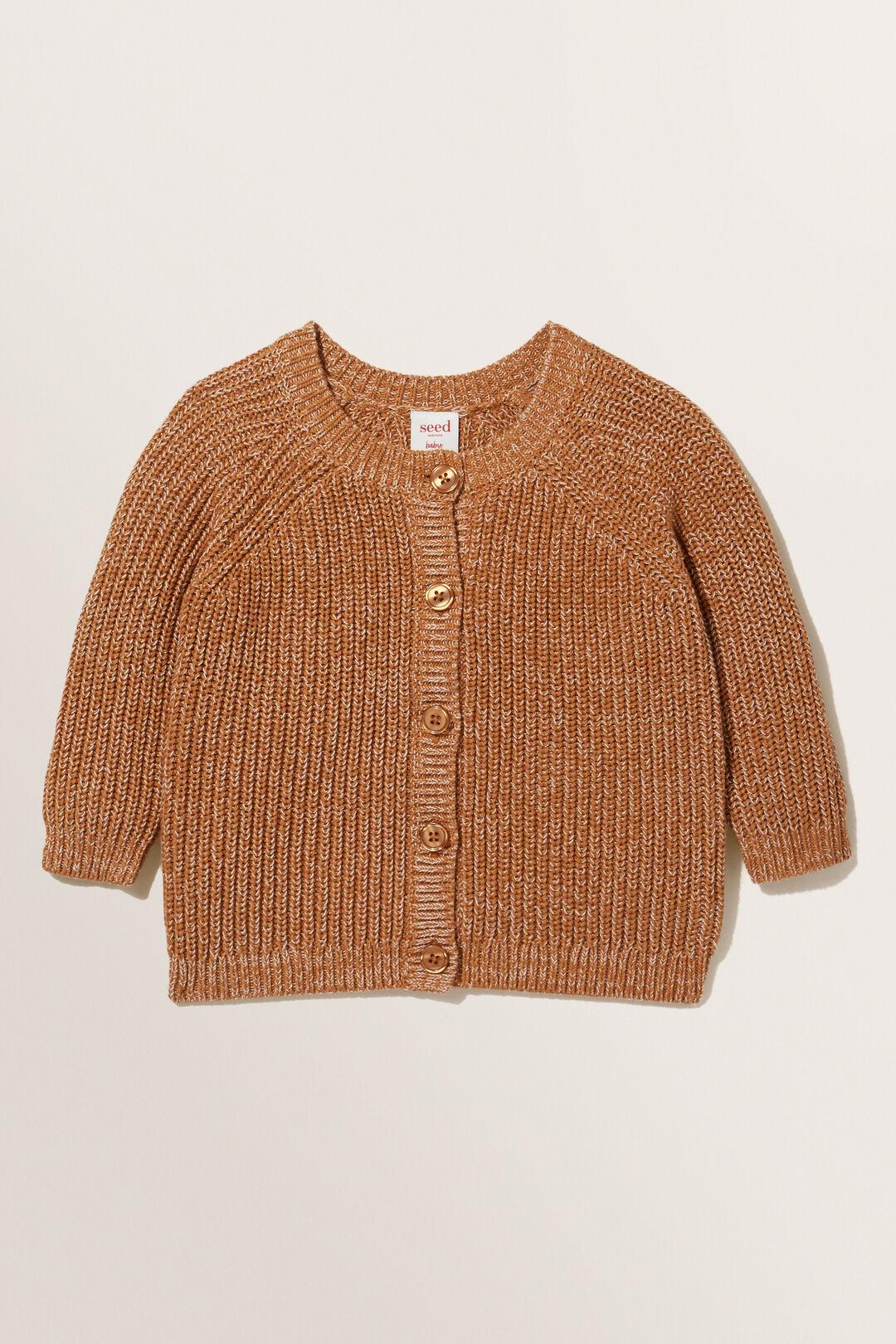 Knitted Raglan Cardigan  FADED CLAY  hi-res