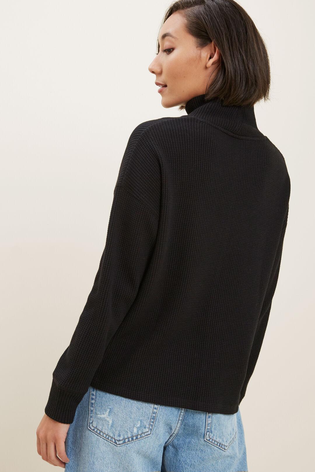Textured Mock Neck Top  BLACK  hi-res