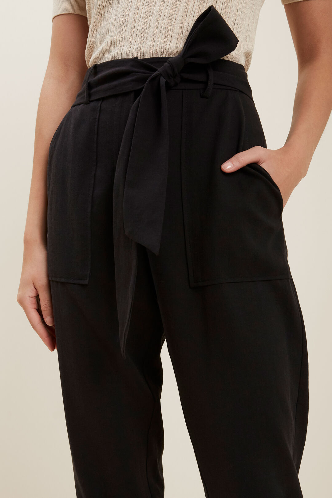 Tie Up Tapered Pant  BLACK  hi-res