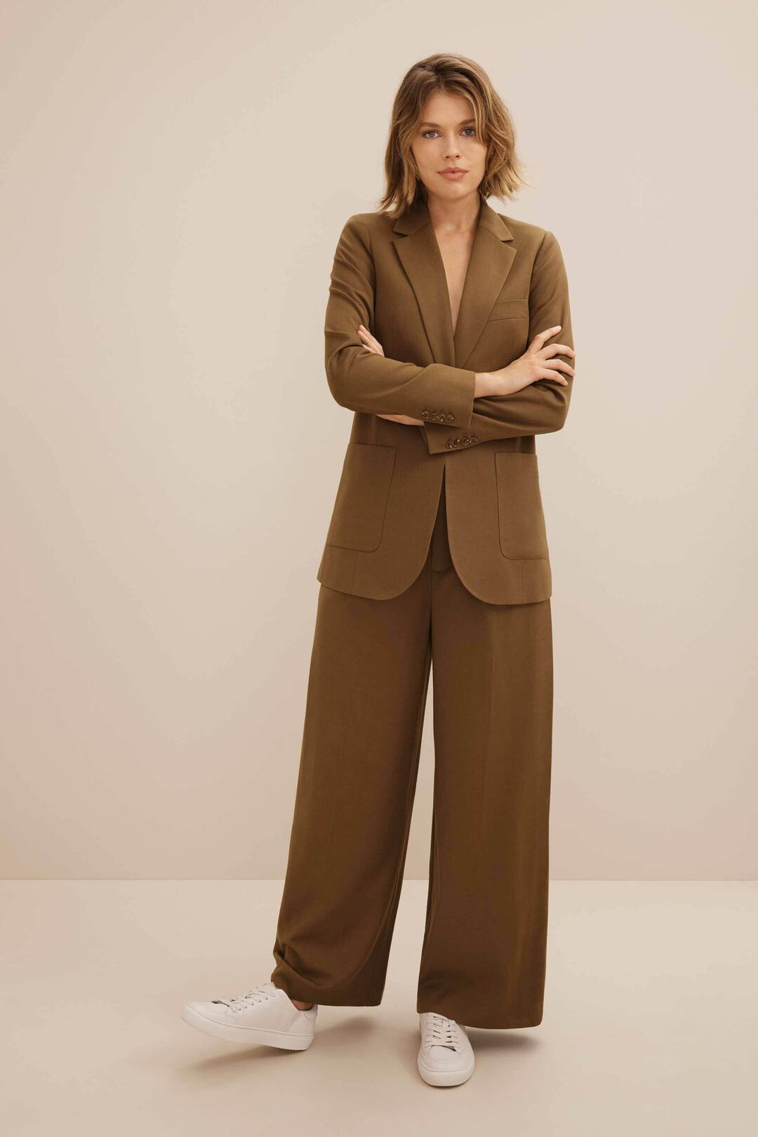 Twill Wide Leg Suit Pant  MOLASSES  hi-res