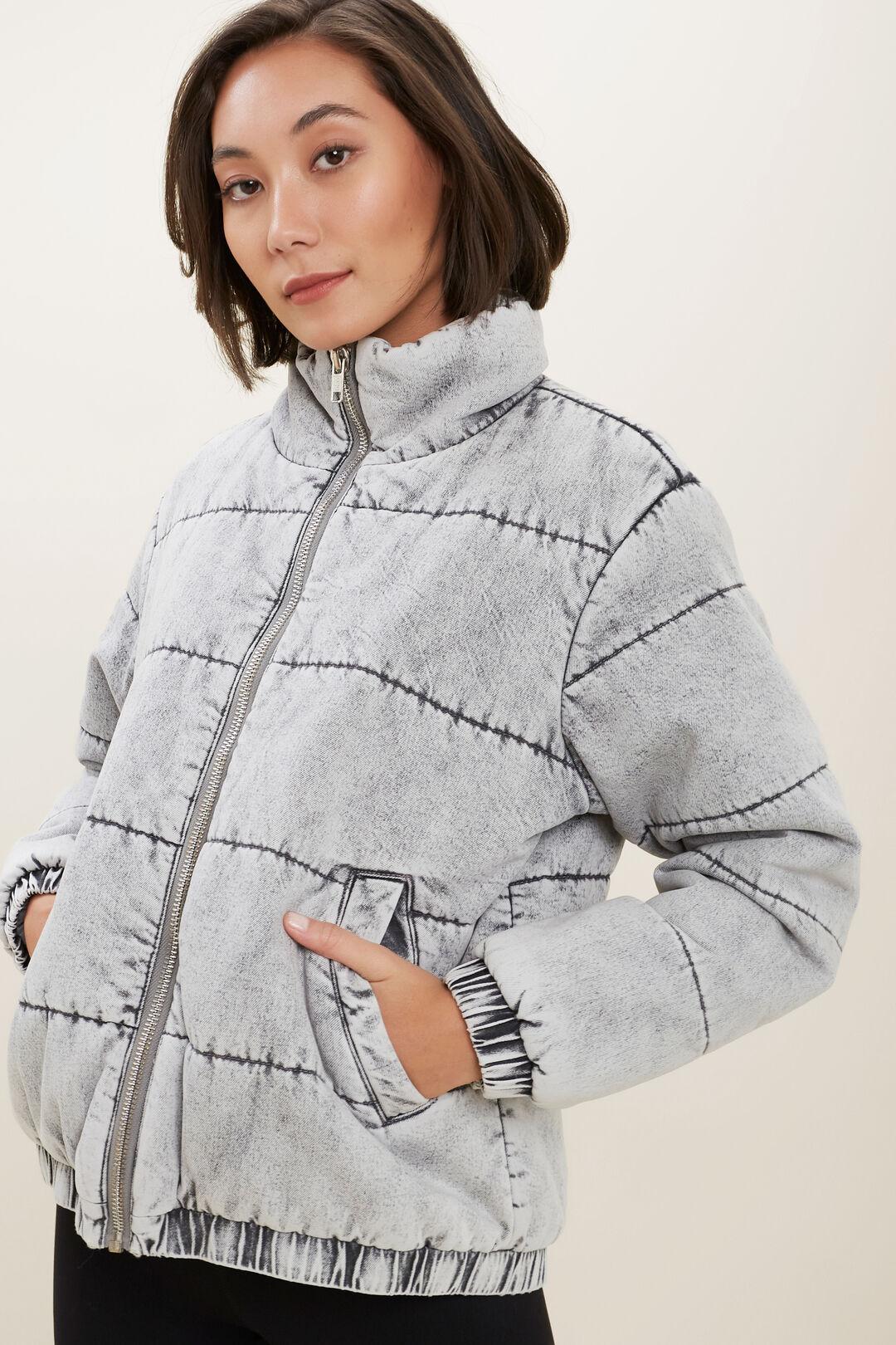 Acid Wash Denim Jacket  STONE GREY  hi-res