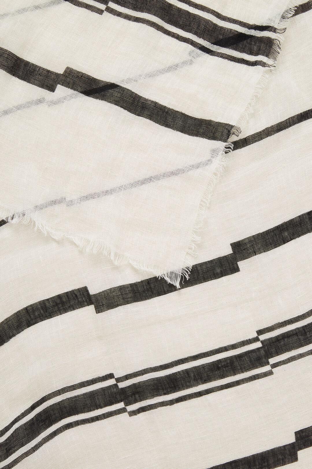 Linen Stripe Scarf  WHITE/BLACK  hi-res