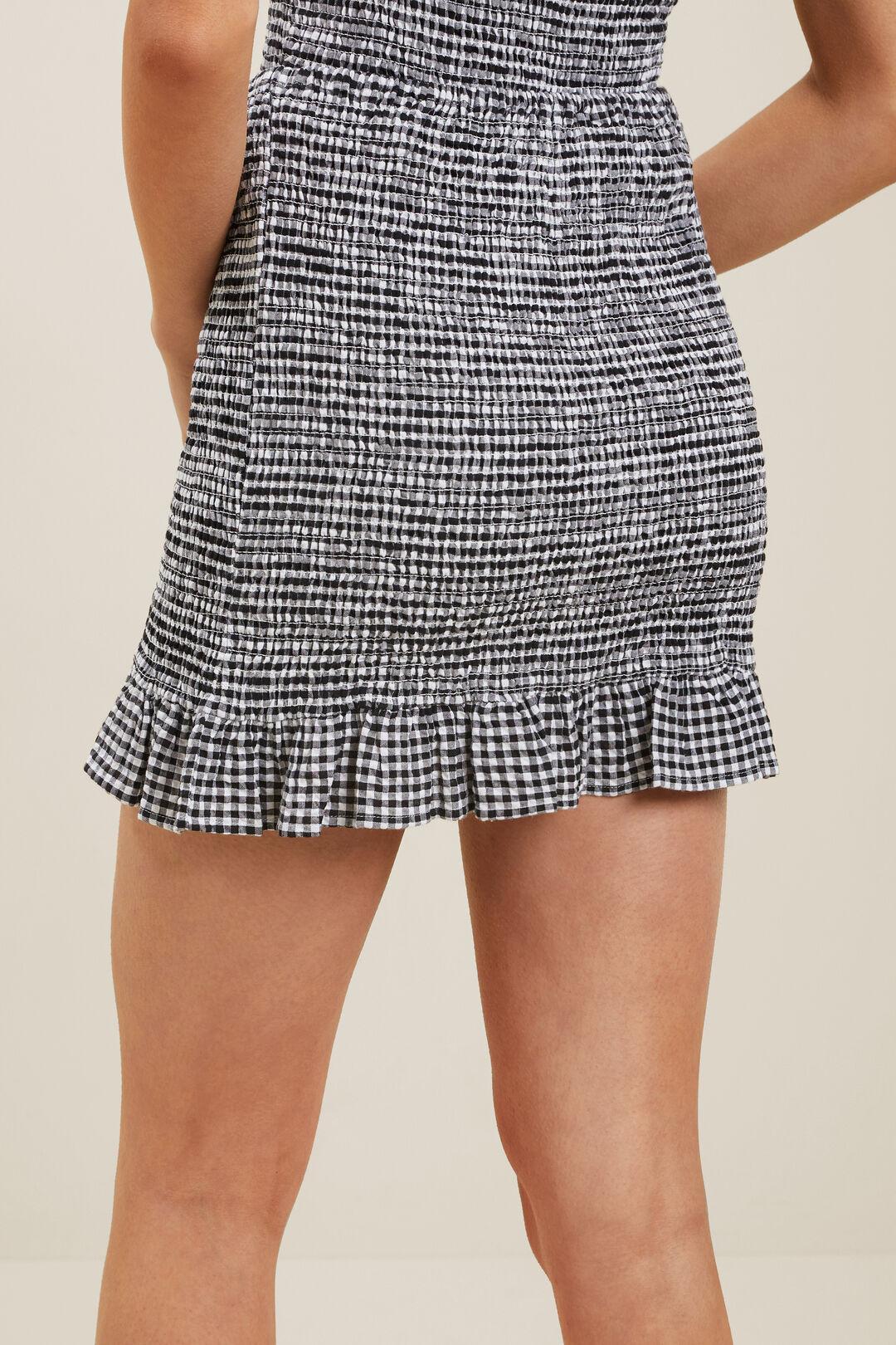 Gingham Shirred Skirt  BLACK/WHITE  hi-res