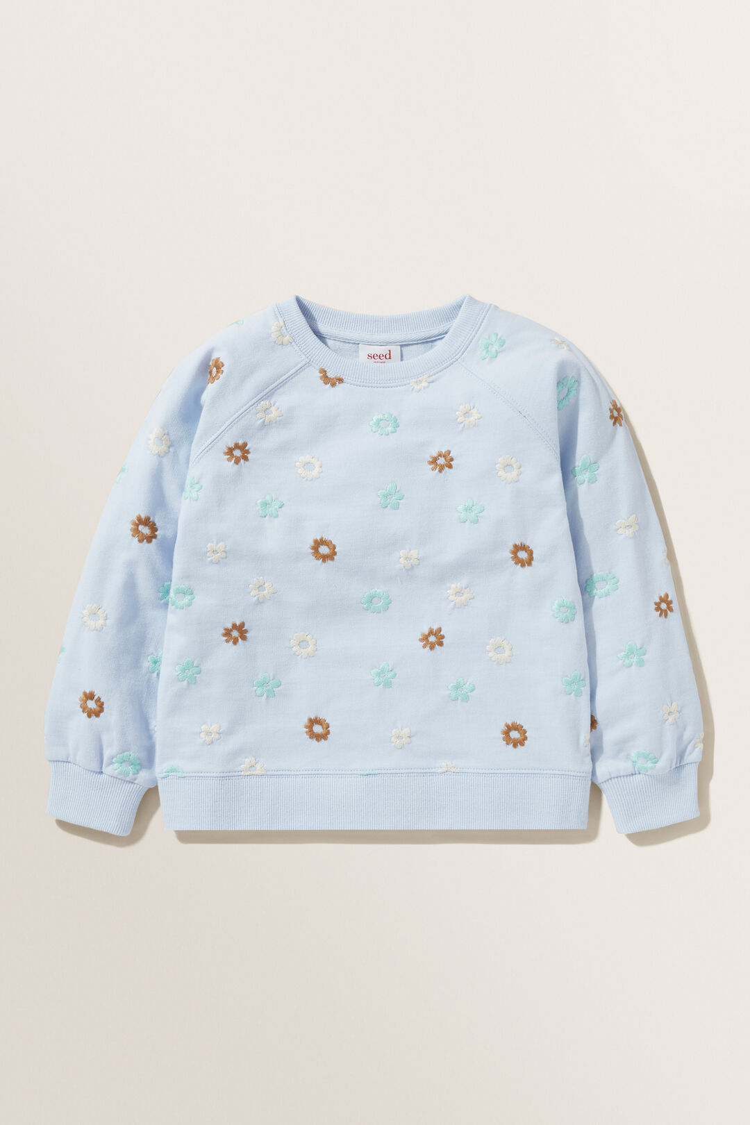 Floral Embroidered Sweater  BABY BLUE  hi-res