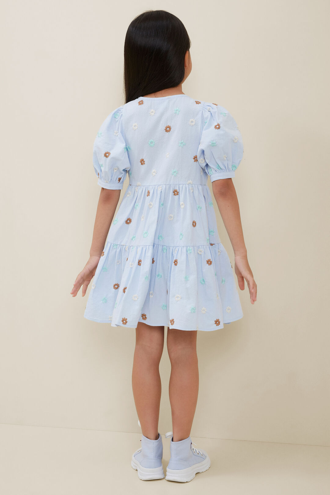 Embroidered Floral Midi Dress  BABY BLUE  hi-res