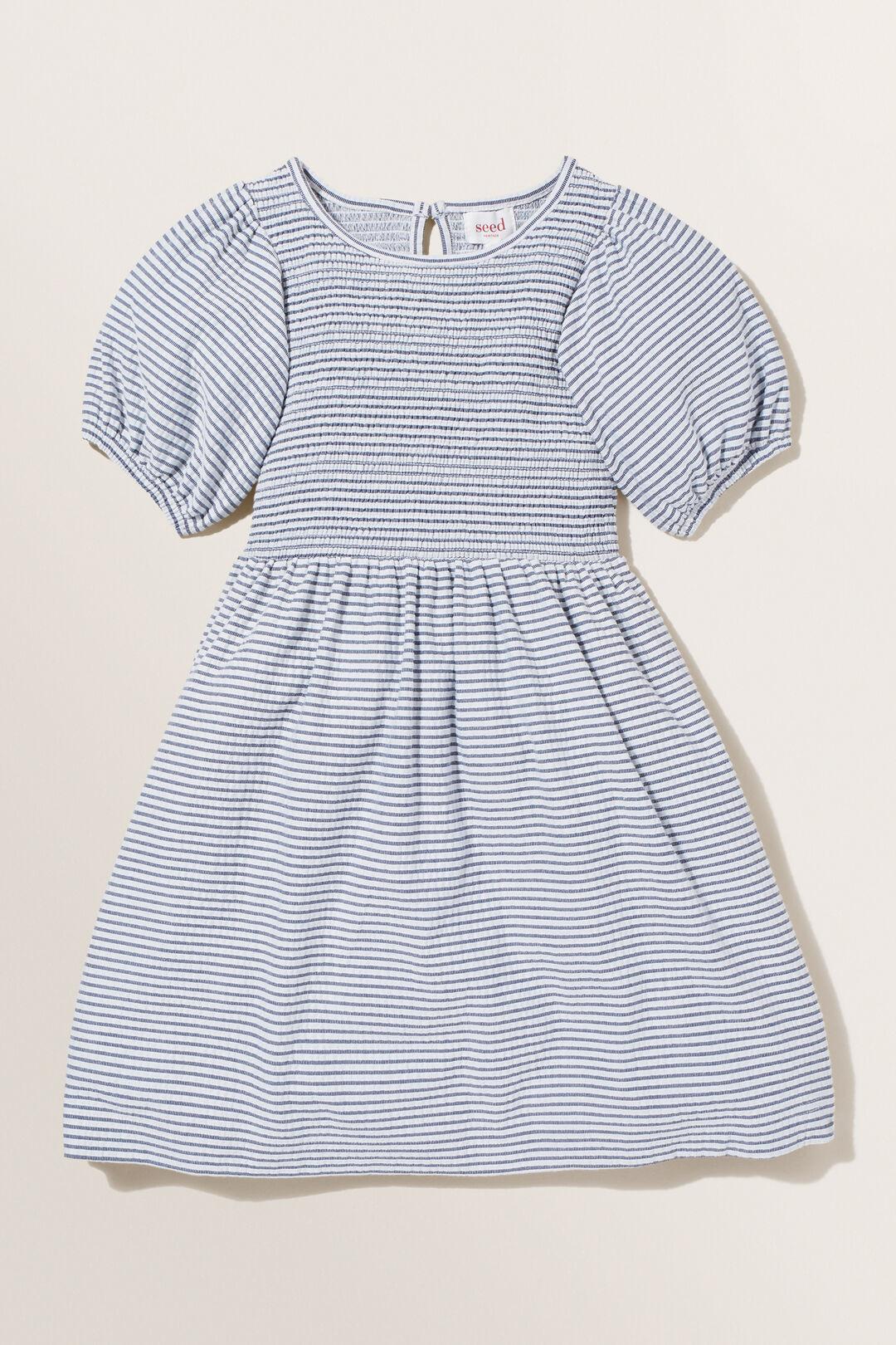 Stripe Shirred Dress  MIDNIGHT  hi-res