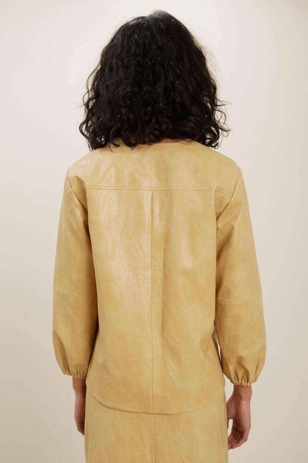 Vegan Leather V Neck Blouse  FAWN  hi-res