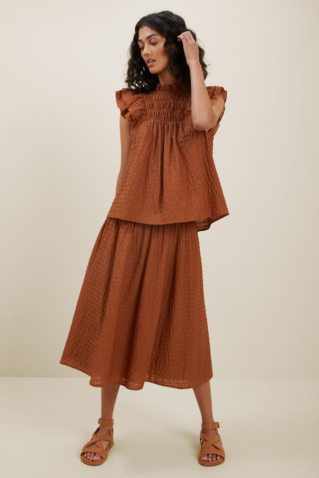 Textured Frill Sleeve Top  EARTH RED  hi-res