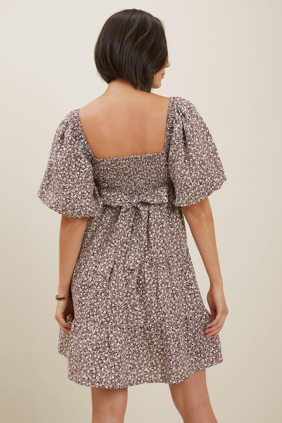 Linen Ditsy Mini Dress  RUSSET BROWN DITSY  hi-res