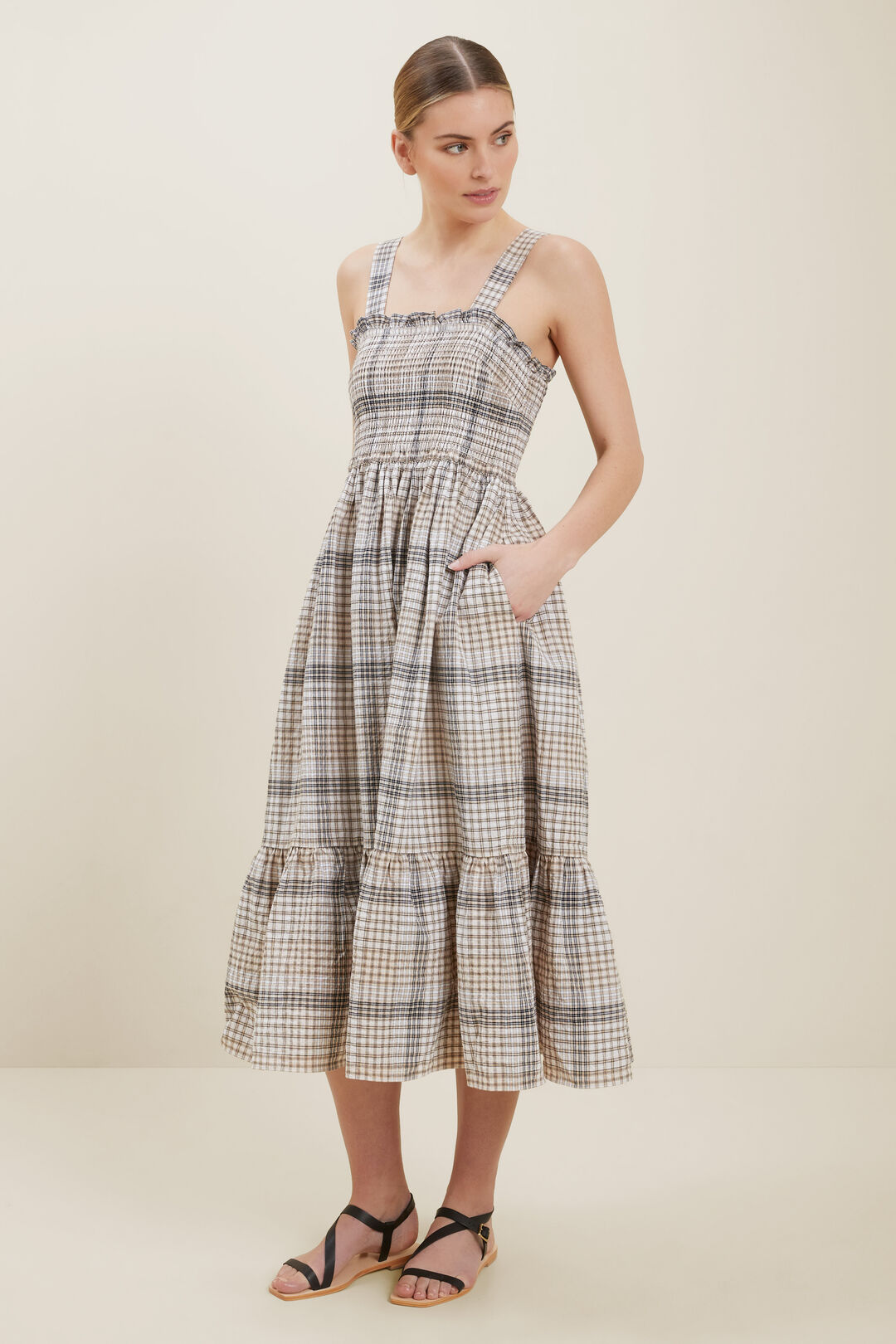 Textured Check Midi Dress  NEUTRAL CHECK  hi-res