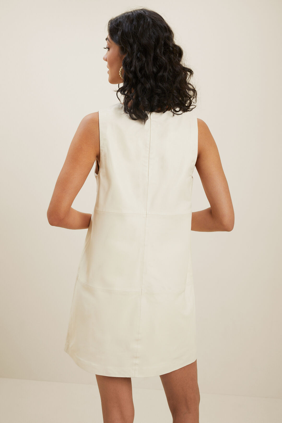 Leather Mini Dress  PEBBLE CREAM  hi-res