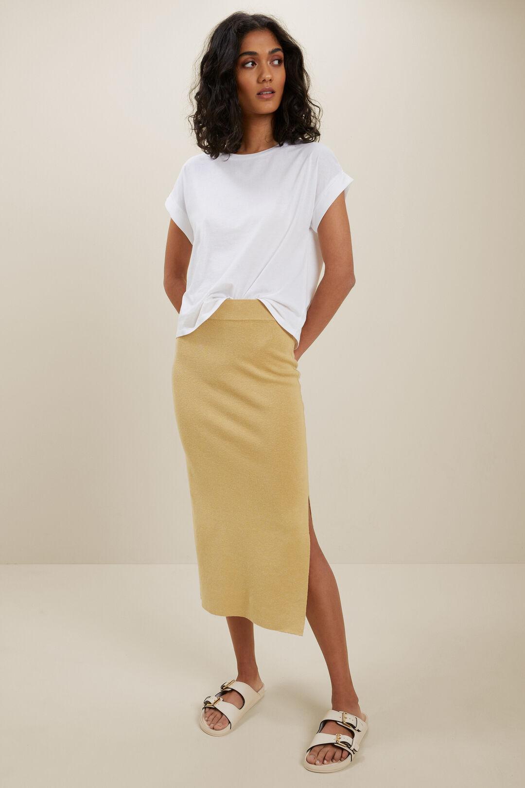 Knit Midi Split Skirt  FAWN  hi-res