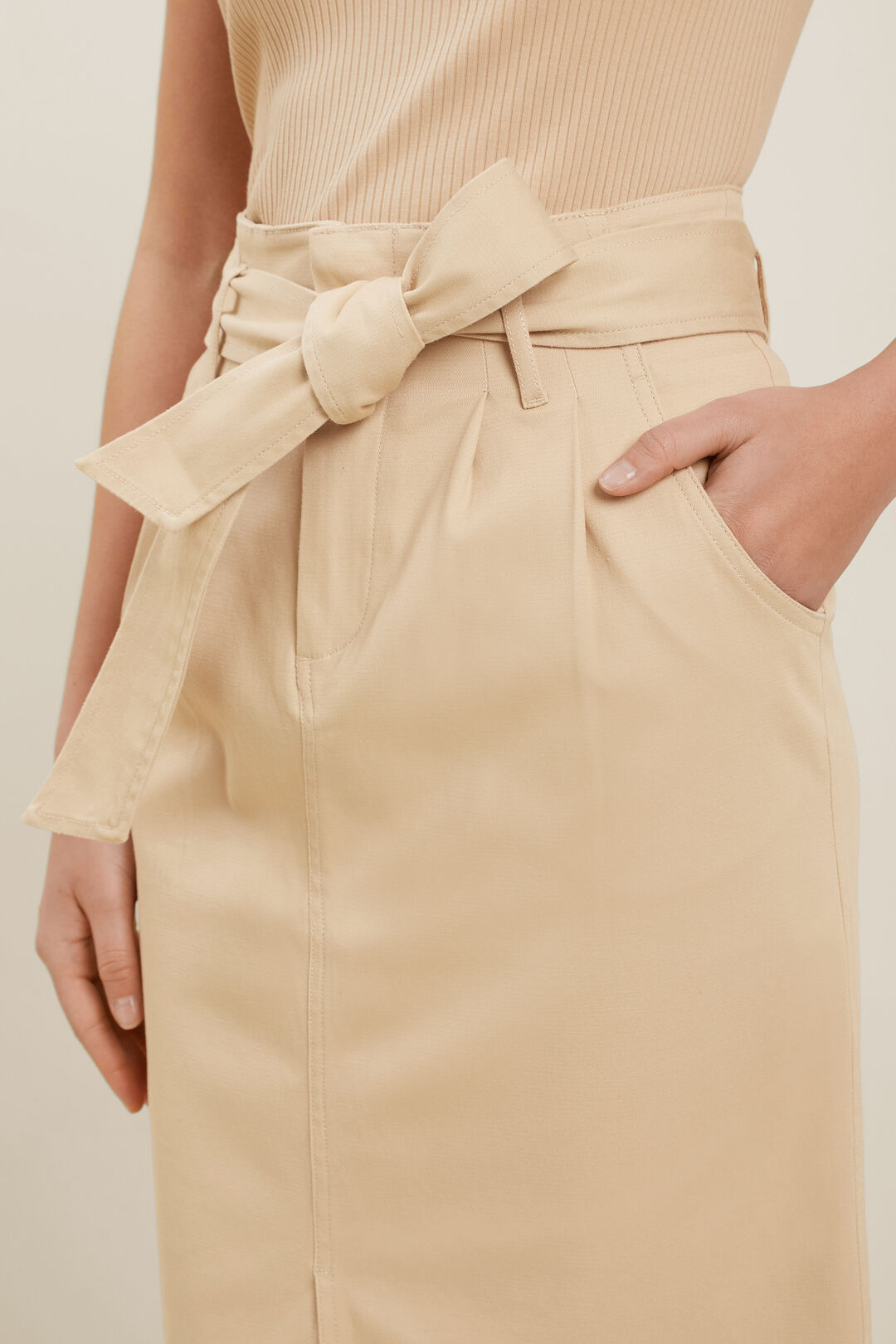 Cotton Belted Midi Skirt  NEUTRAL SAND  hi-res