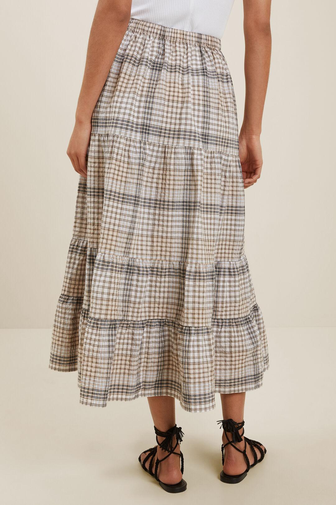 Textured Check Midi Skirt  NEUTRAL CHECK  hi-res