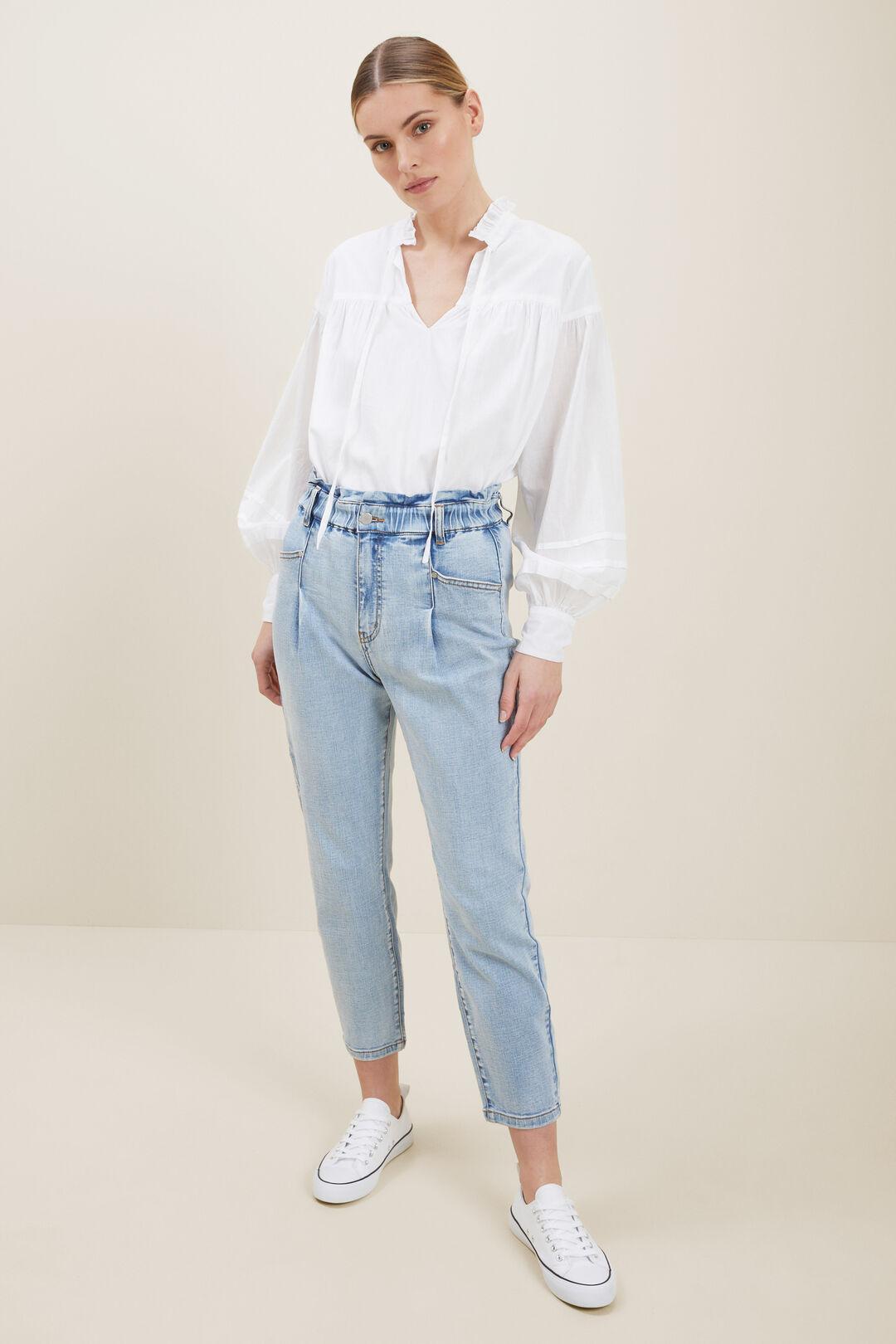 Tapered Pleat Front Jeans  WASHED BLUE DENIM  hi-res