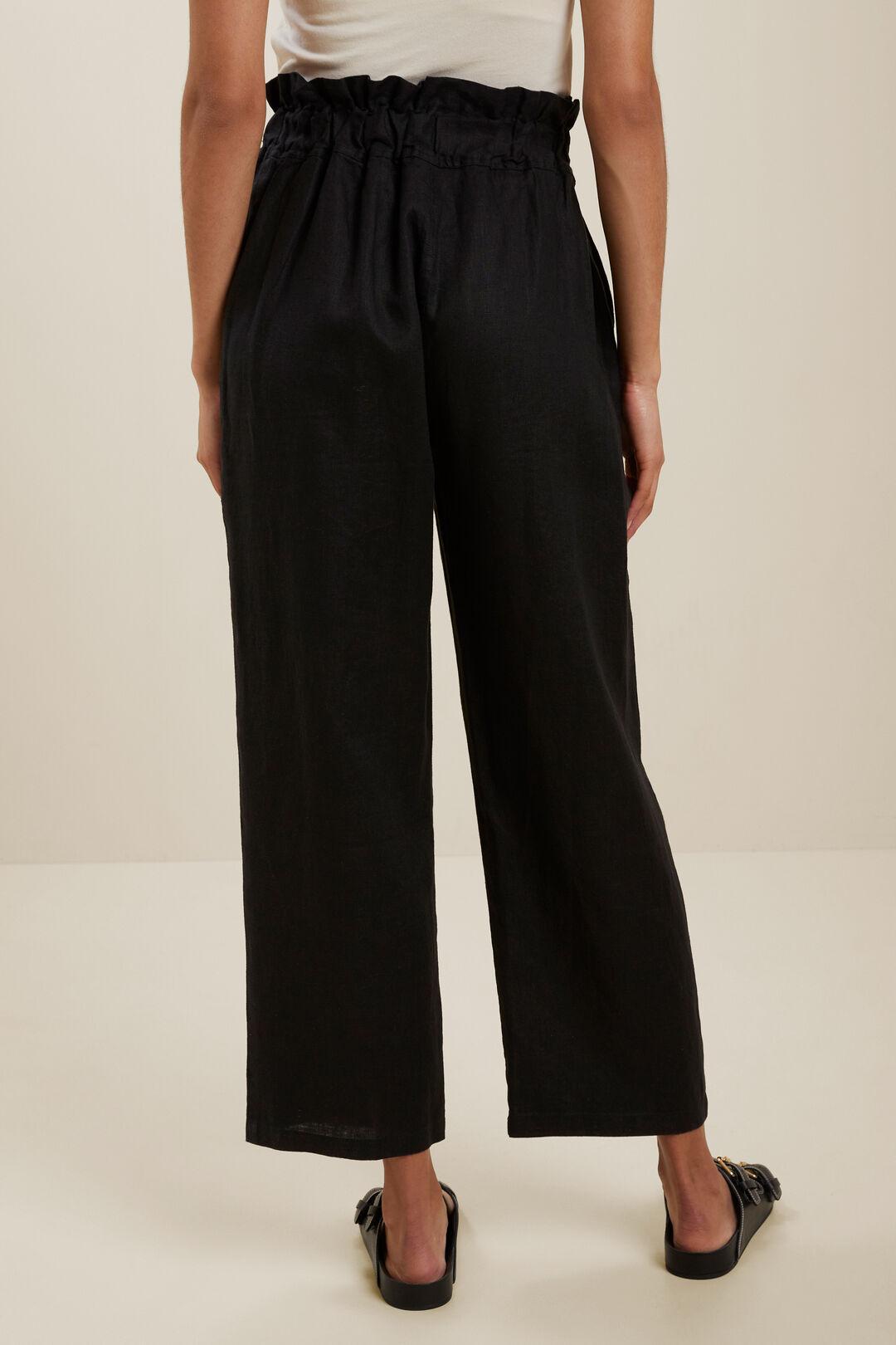 LinenPaperbagWaist Pant  BLACK  hi-res