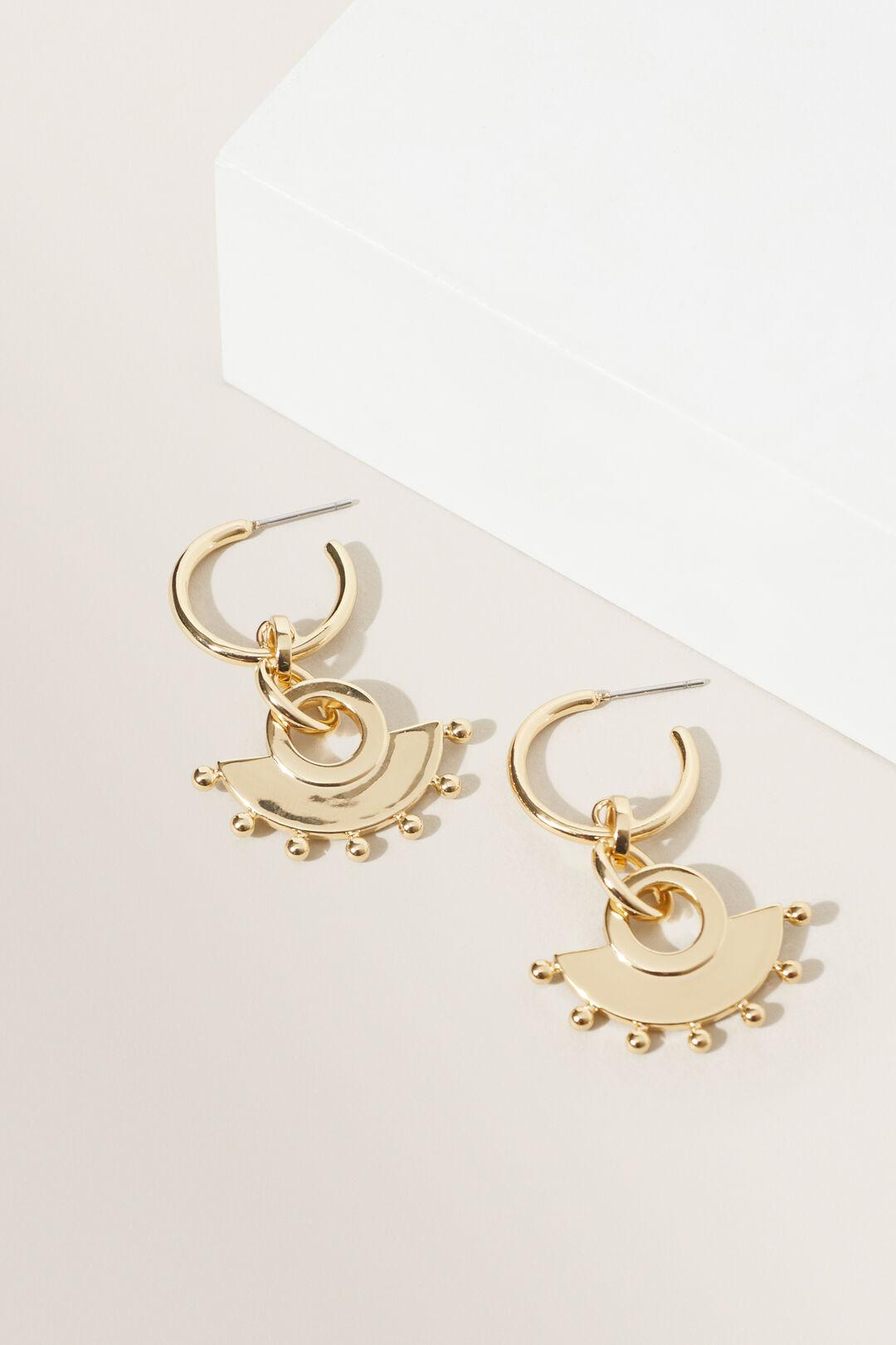 Studded Half Moon Earrings  GOLD  hi-res