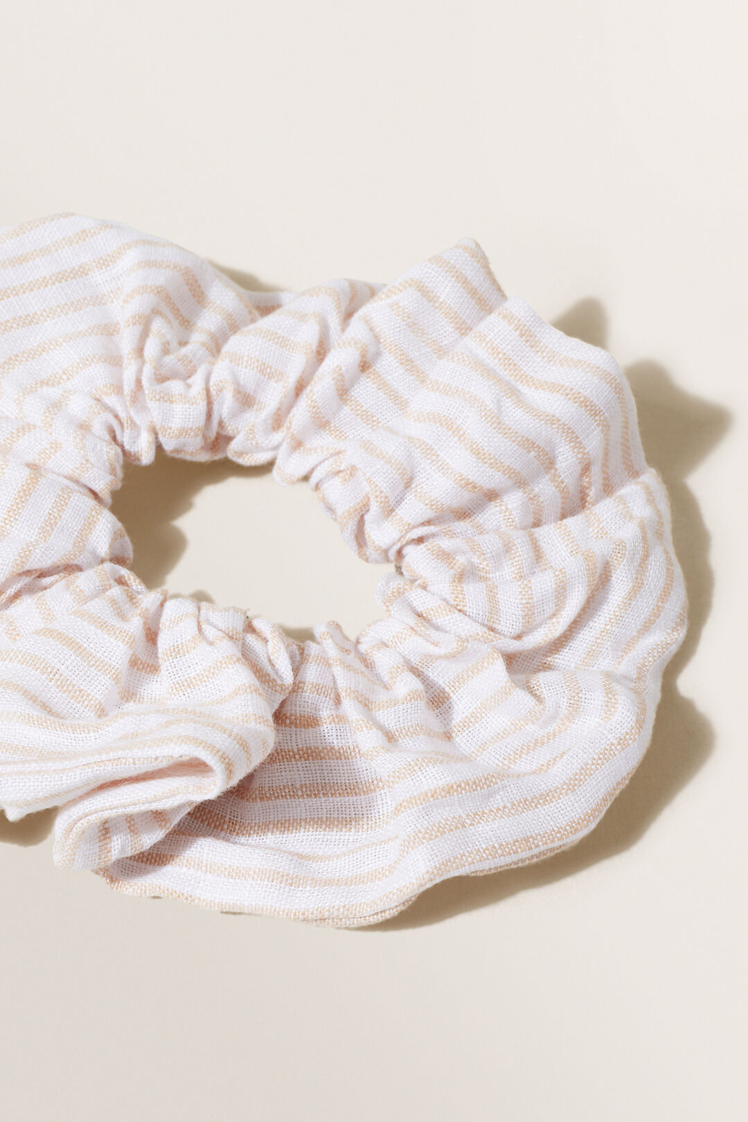 Stripe Linen Scrunchie  NEUTRAL SAND STRIPE  hi-res