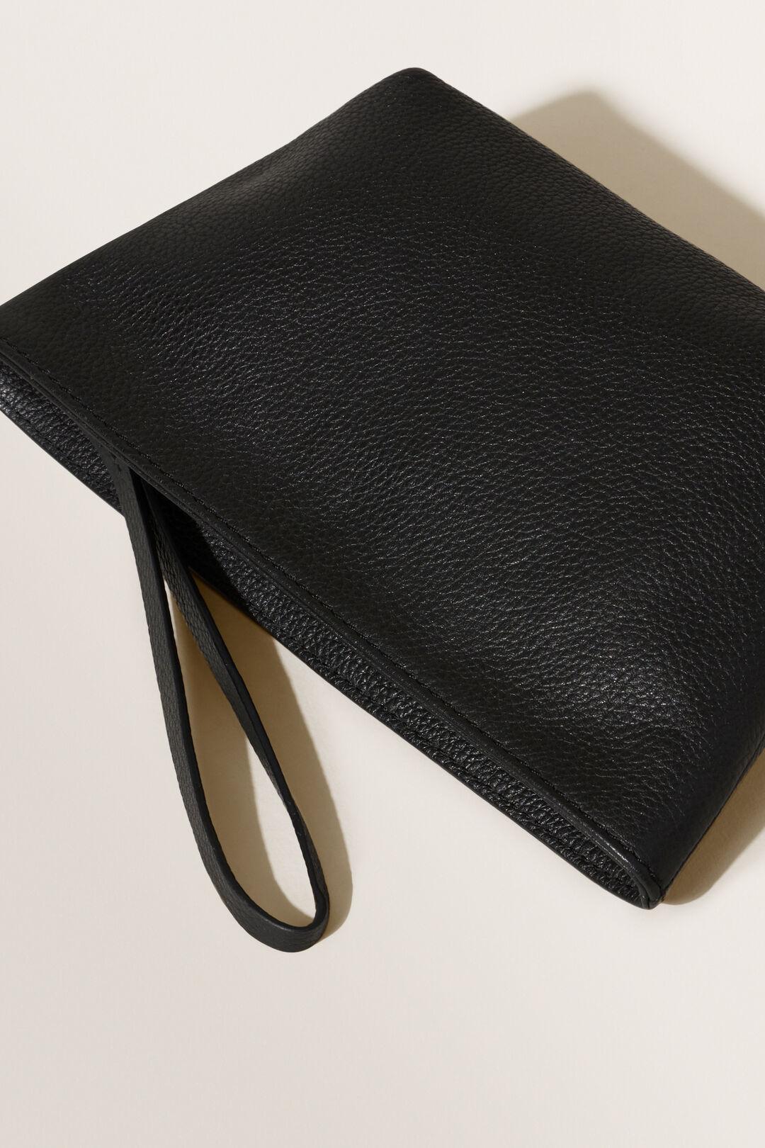 Leather Fold Detail Pouch  BLACK  hi-res