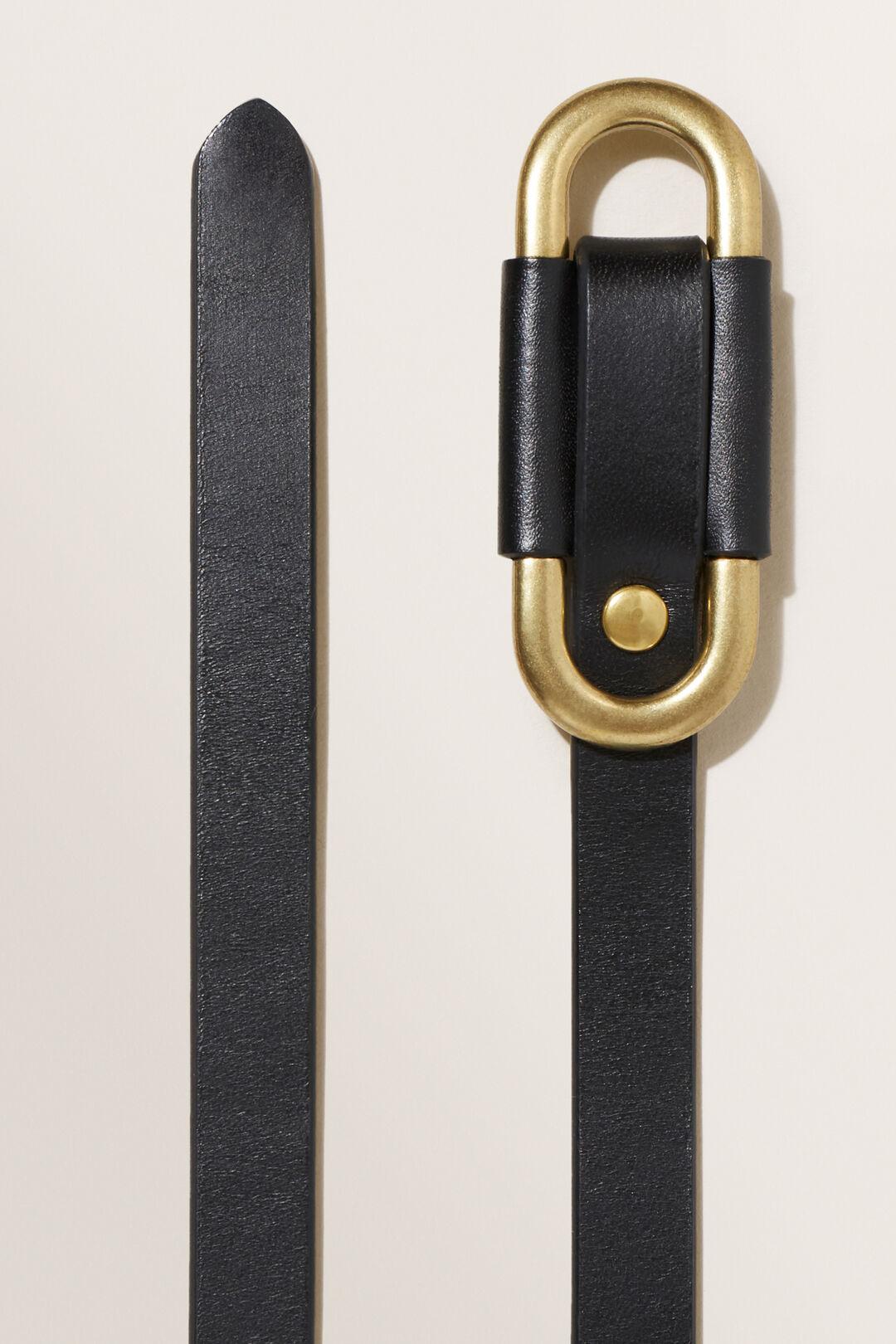 Oval Leather Belt  BLACK  hi-res
