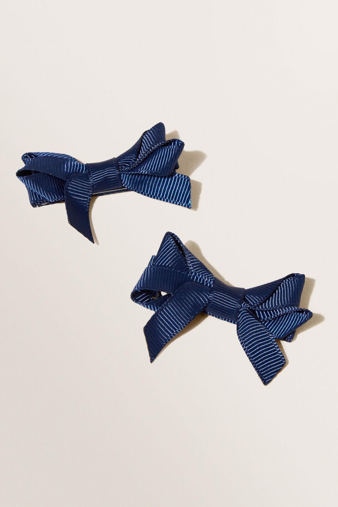 School Double Bow Clip  Navy  hi-res
