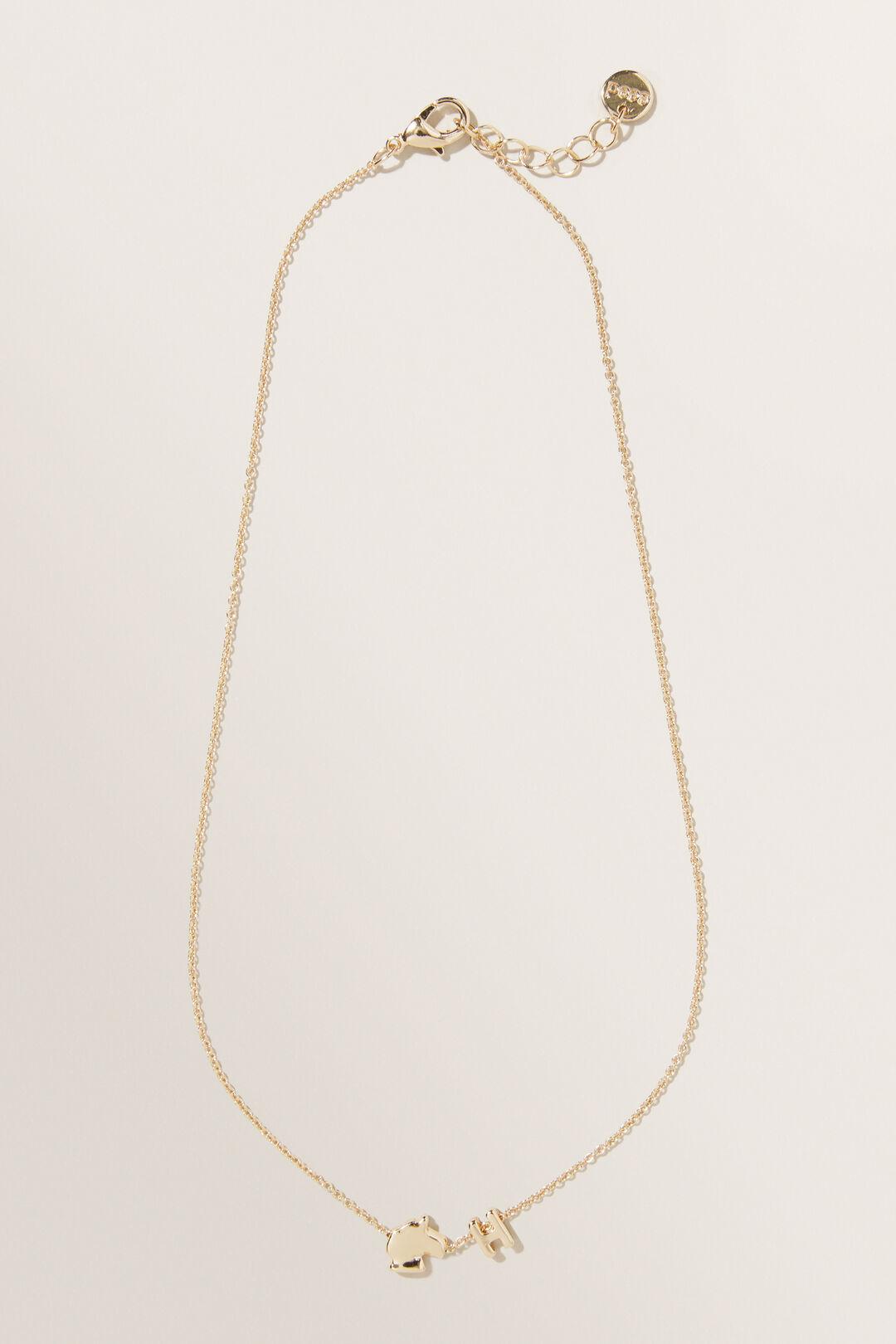 Unicorn Initial Necklace  H  hi-res