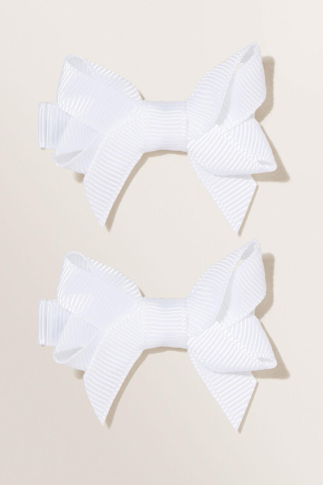 School Double Bow Clip  White  hi-res